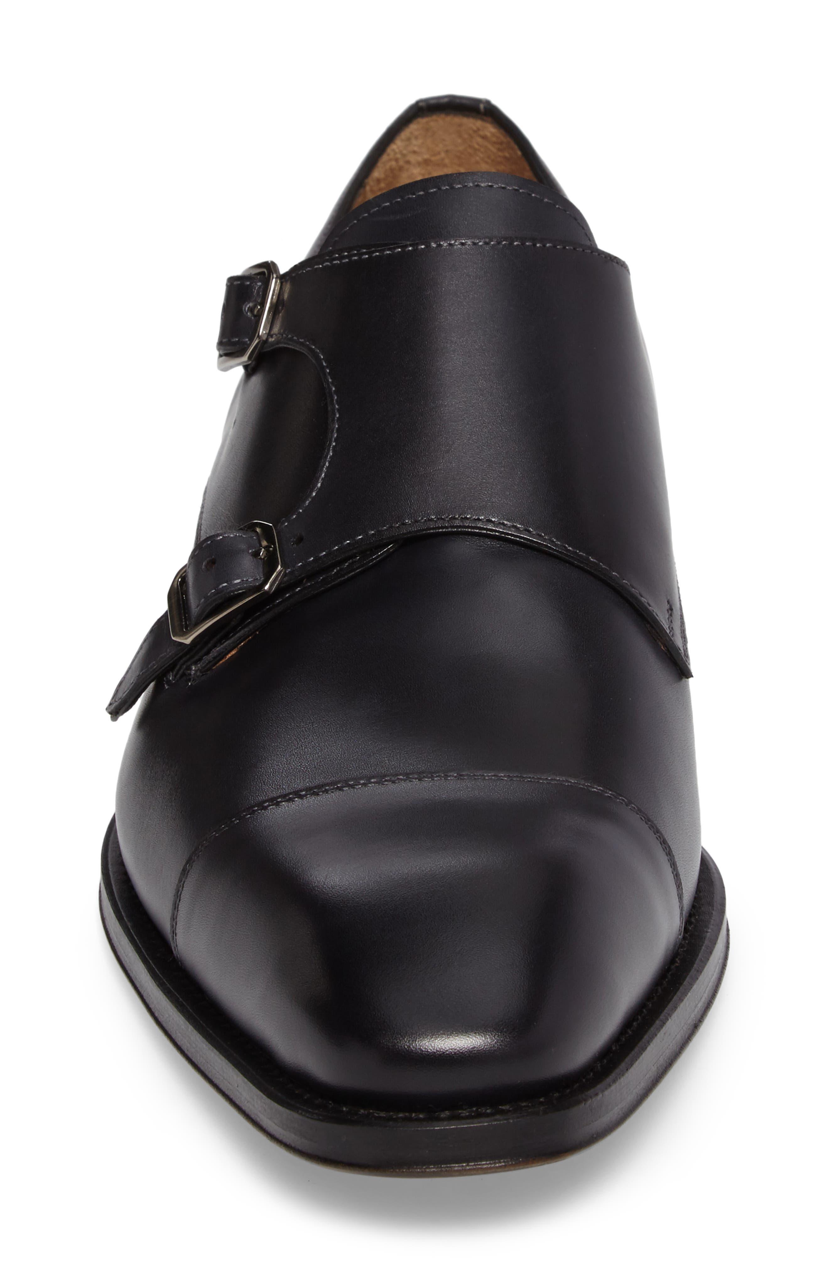 Cajal Double Monk Strap Cap Toe Shoe,                             Alternate thumbnail 4, color,                             001