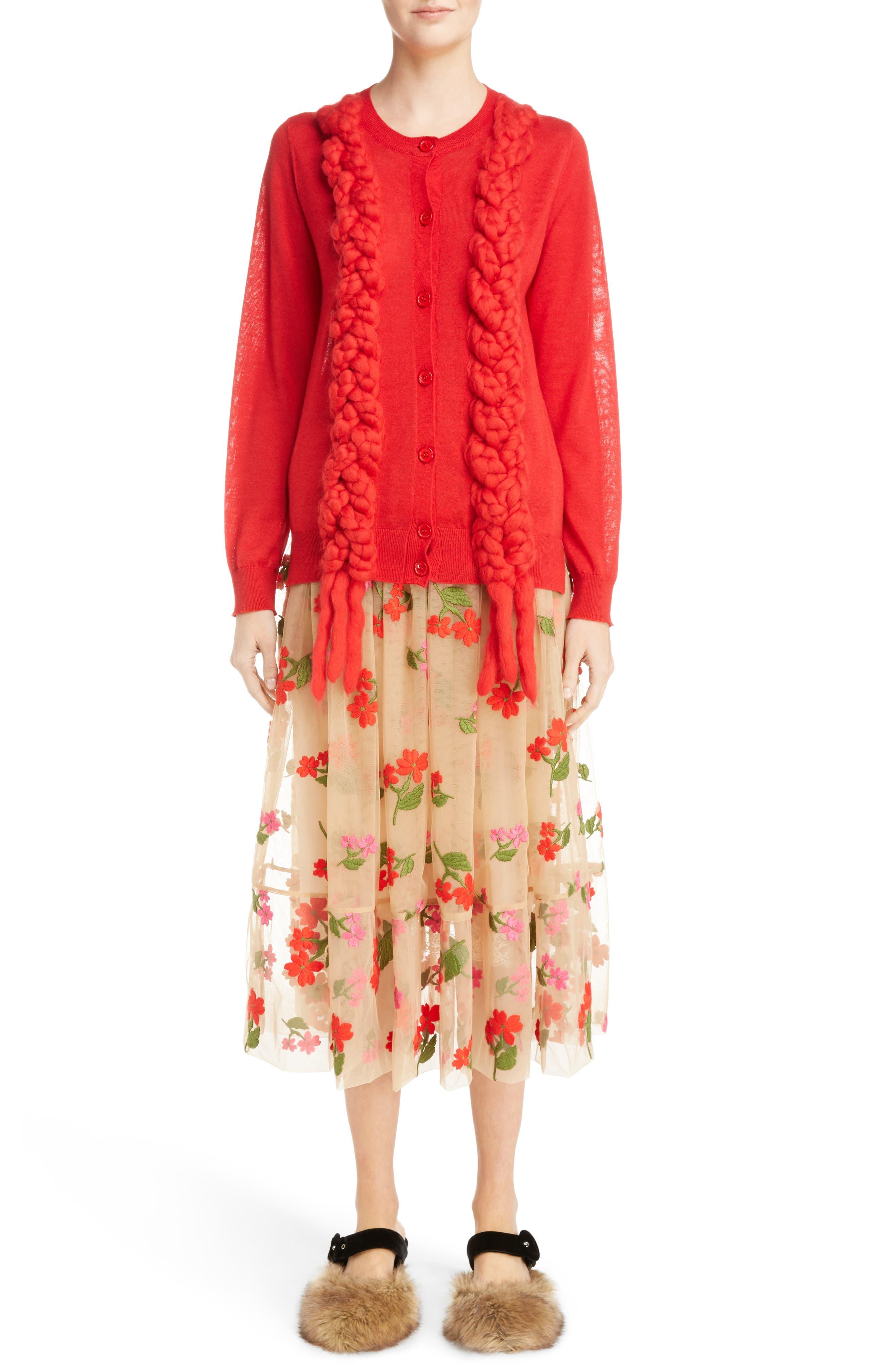 Felted Plait Merino, Silk & Cashmere Button Cardigan,                             Alternate thumbnail 7, color,                             600