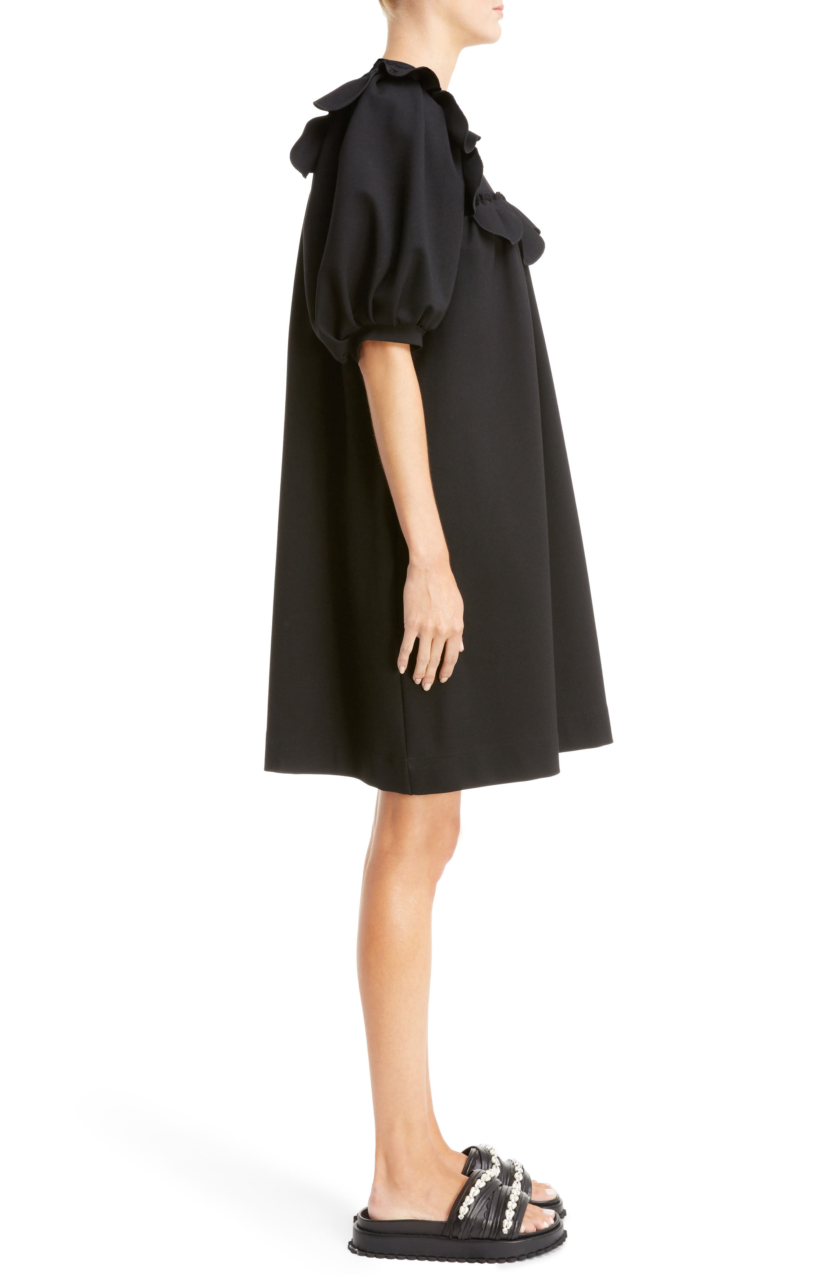 Ruffle Bib Dress,                             Alternate thumbnail 3, color,                             001