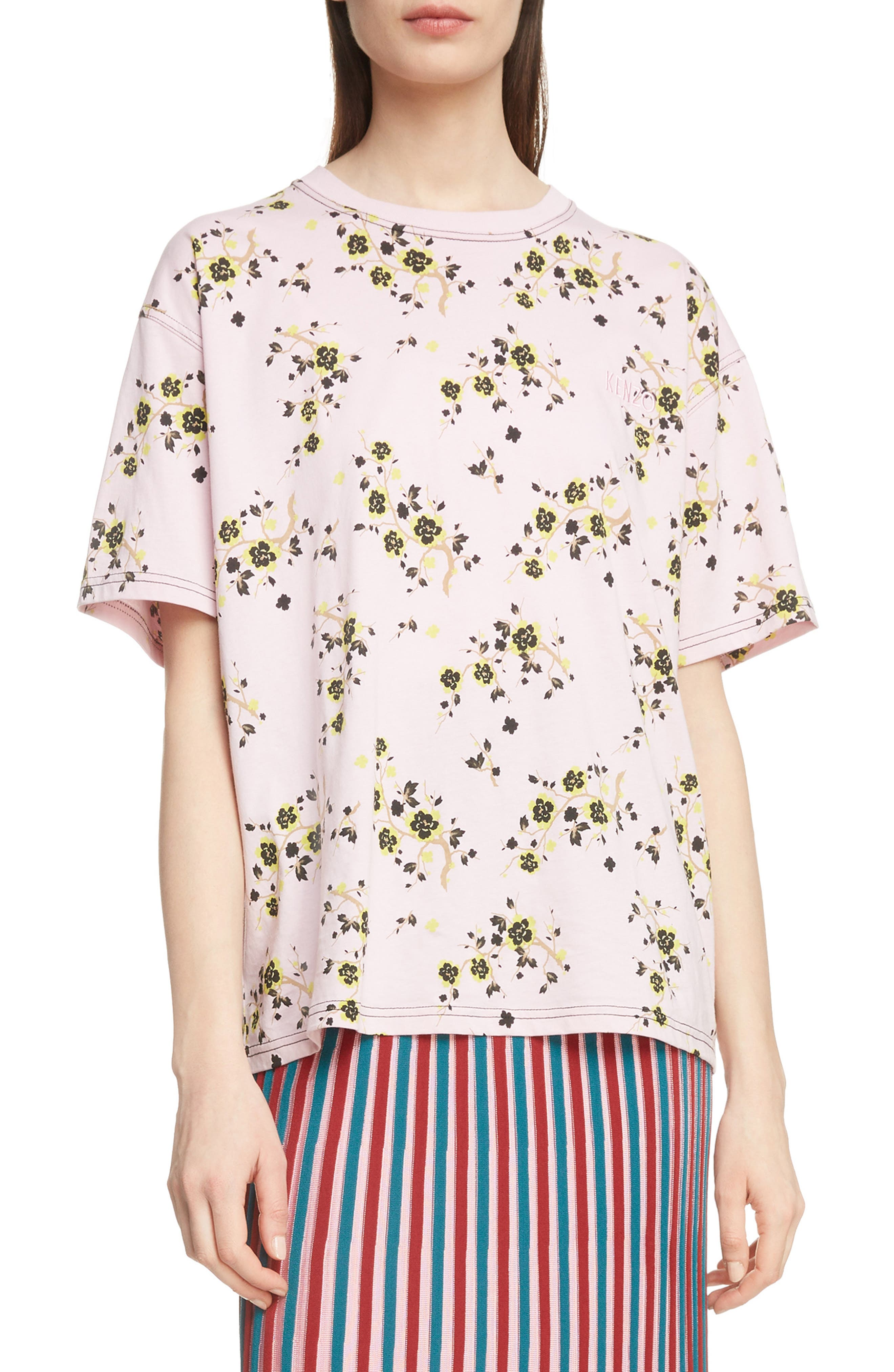 Floral Oversized Tee,                         Main,                         color, PASTEL PINK