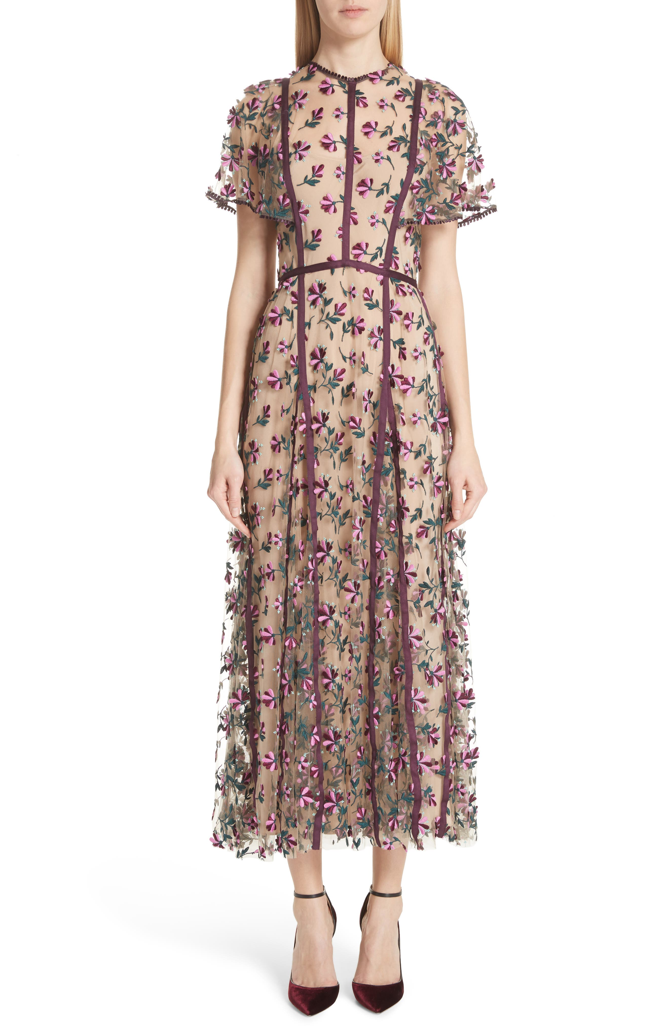 Embroidered Flutter Sleeve Midi Dress,                             Main thumbnail 1, color,                             537