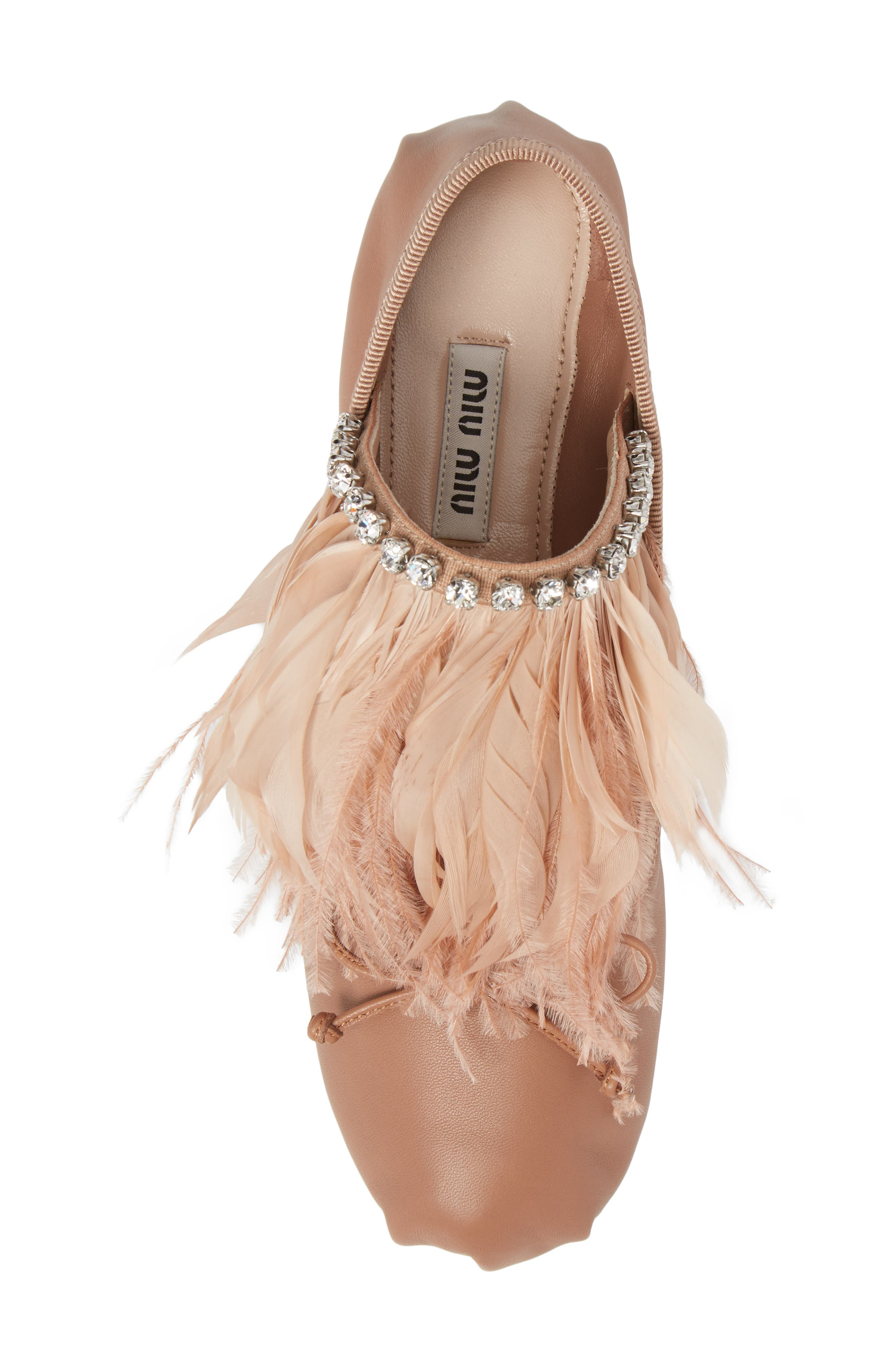 Feather Embellished Ballet Flat,                             Alternate thumbnail 5, color,
