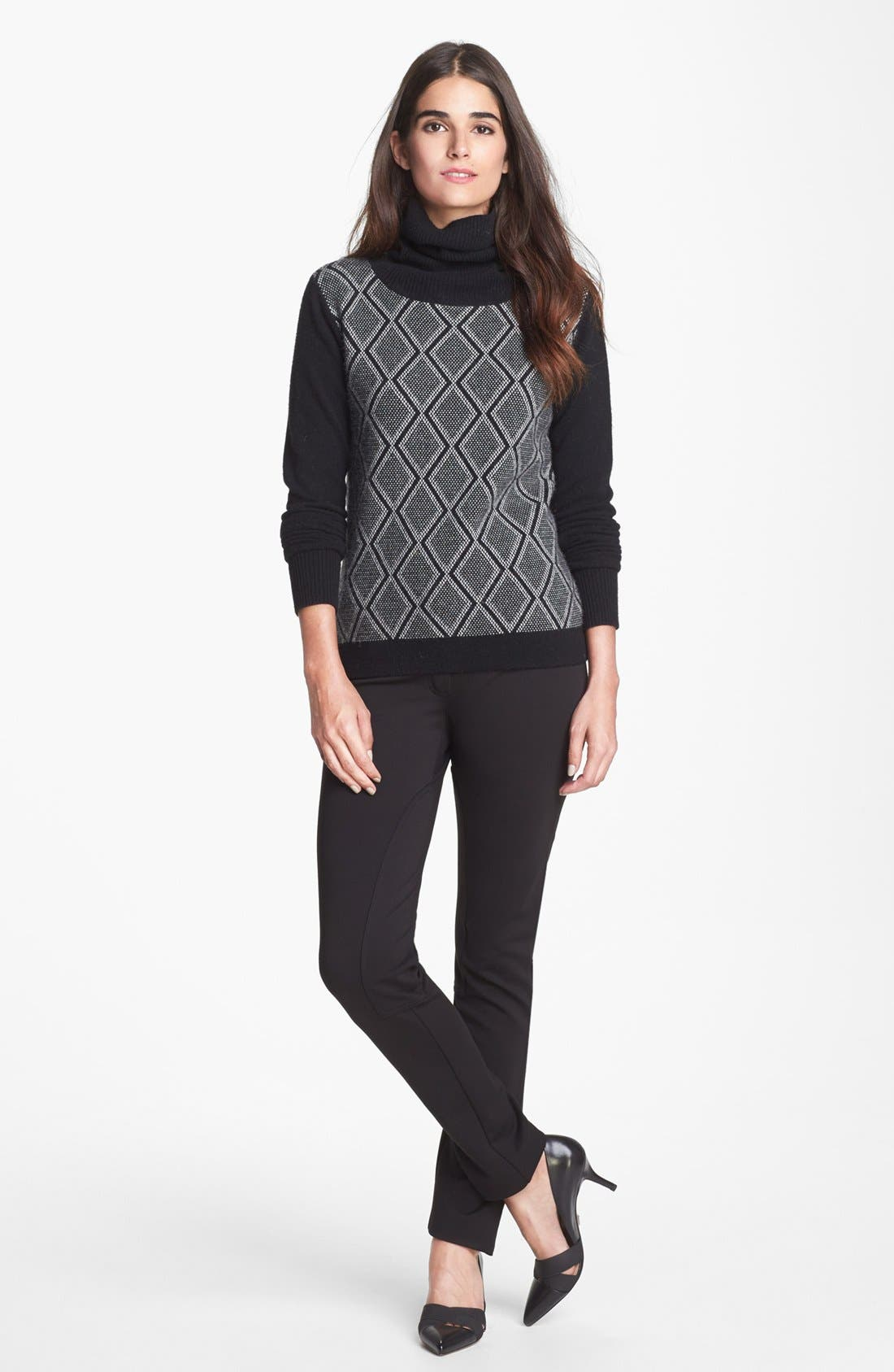 'Slogan' Wool & Cashmere Sweater,                             Alternate thumbnail 4, color,                             001