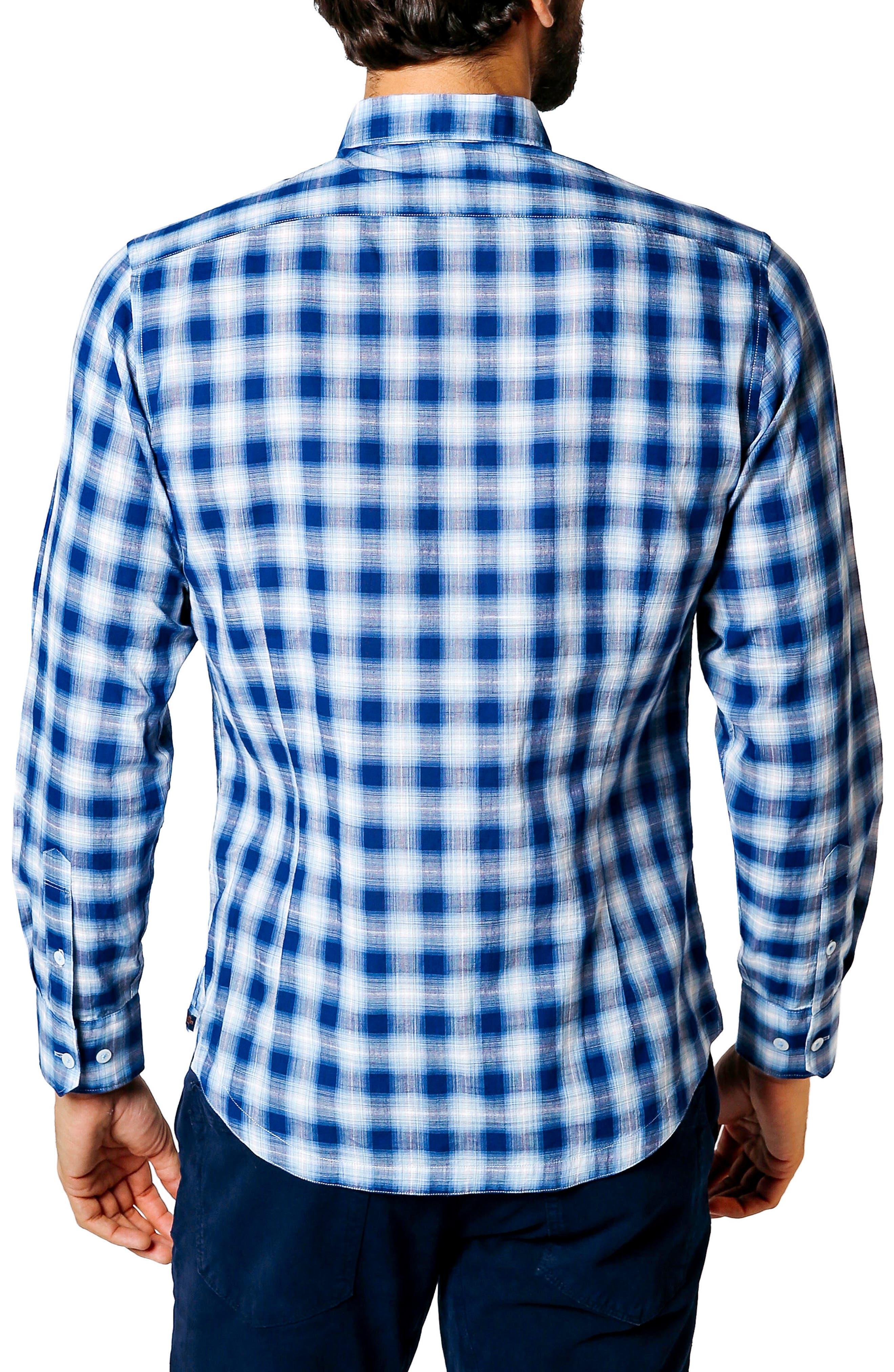 Trim Fit Plaid Sport Shirt,                             Alternate thumbnail 2, color,                             401