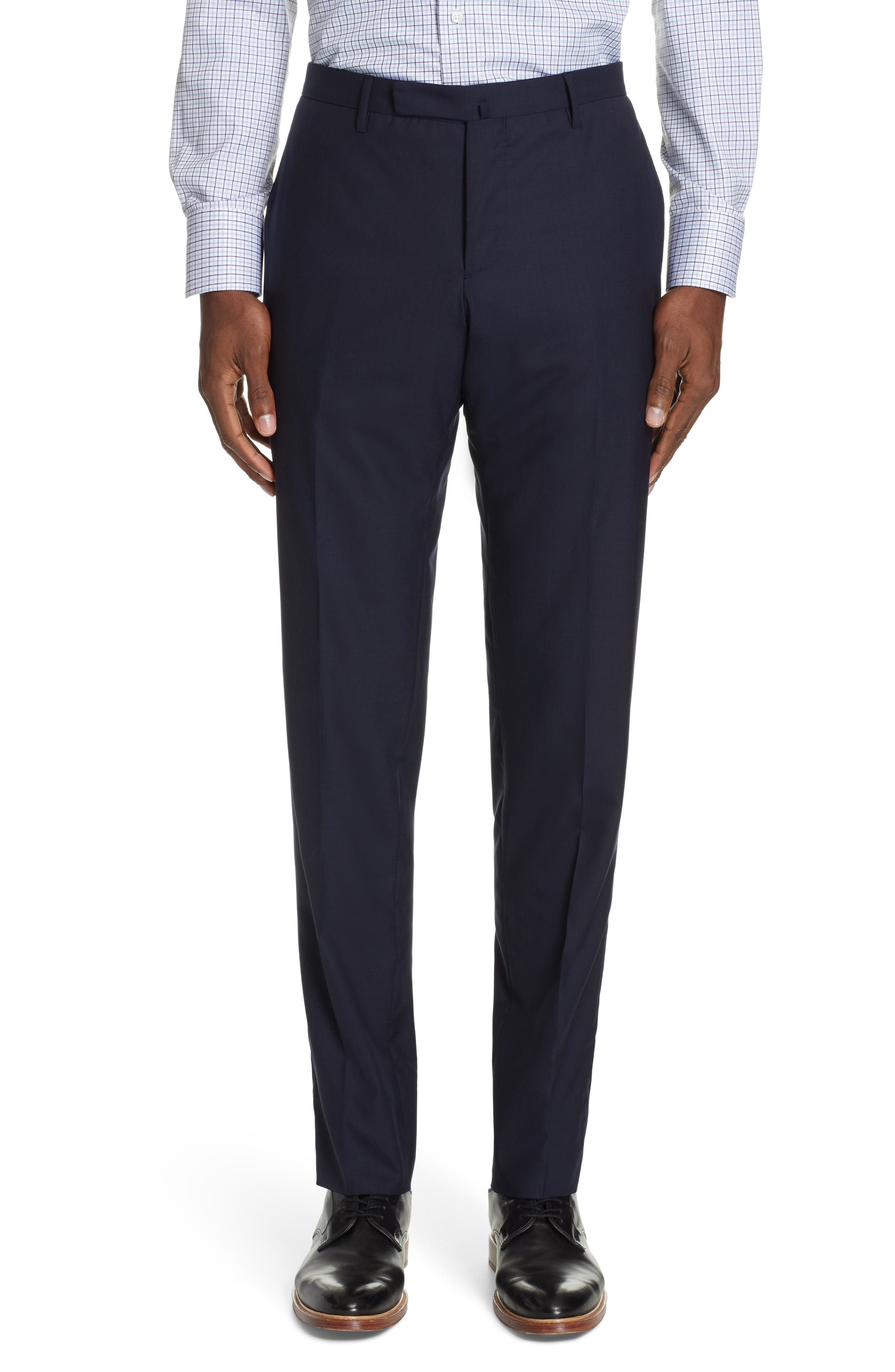 Milano Trim Fit Solid Wool Suit,                             Alternate thumbnail 6, color,                             NAVY