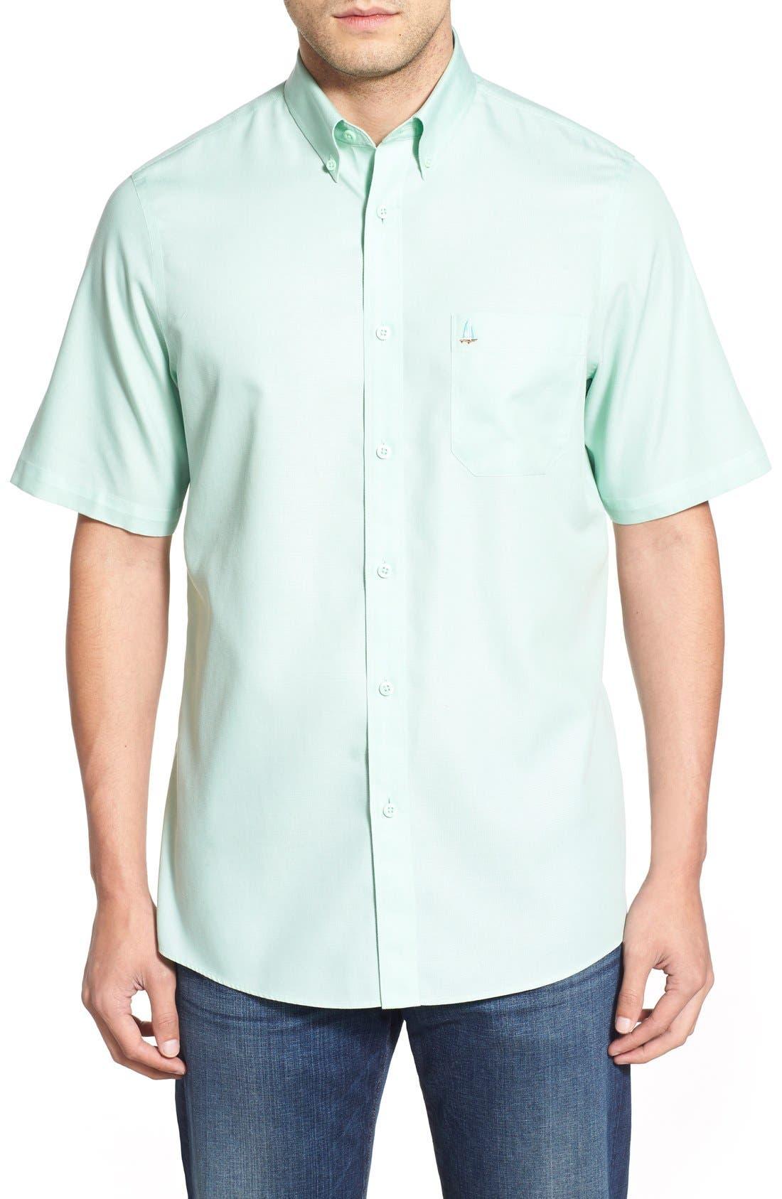'Classic' Smartcare<sup>™</sup> Regular Fit Short Sleeve Cotton Sport Shirt,                             Main thumbnail 11, color,