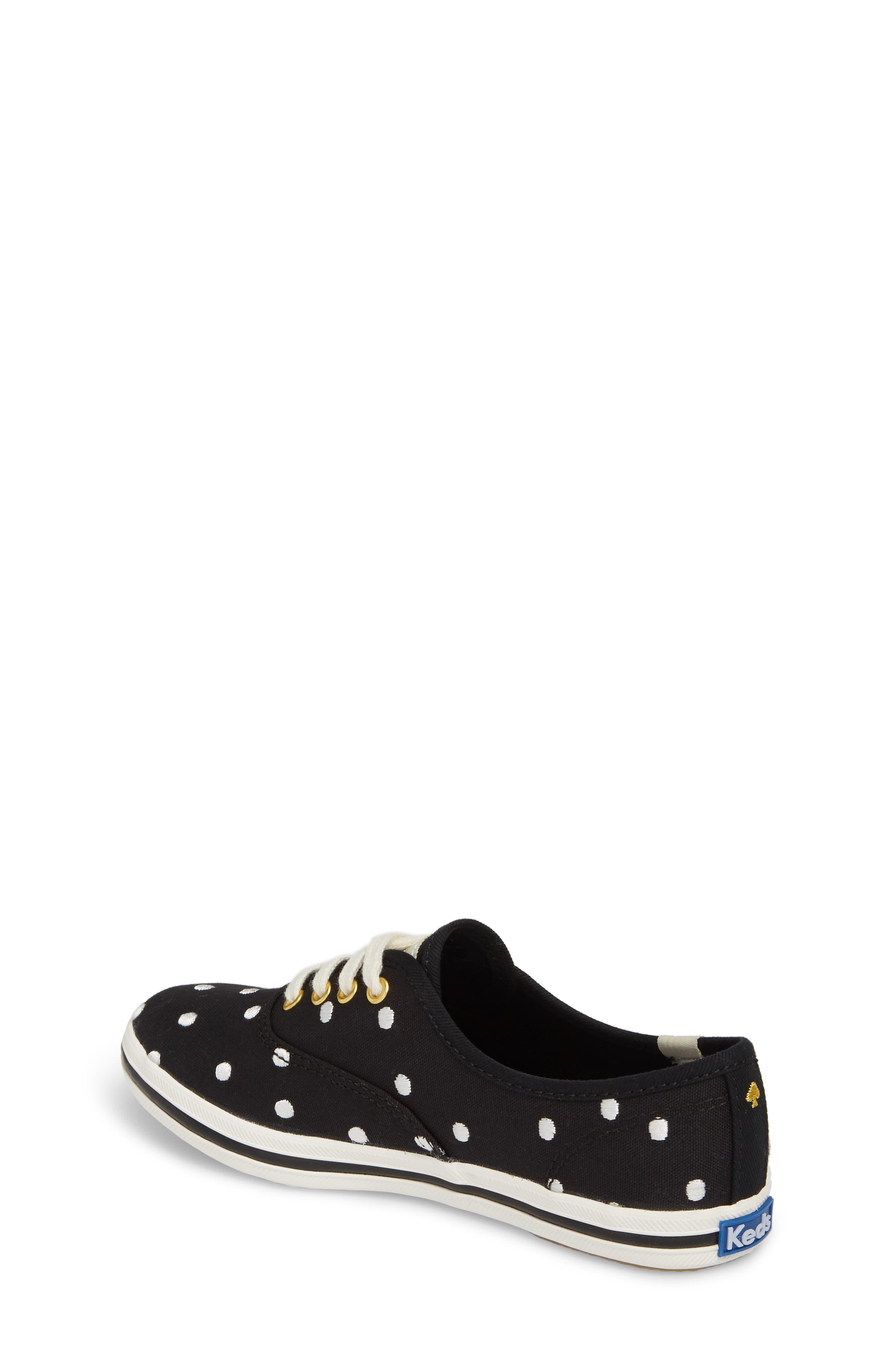 x kate spade new york champion polka dot lace-up shoe,                             Alternate thumbnail 2, color,                             BLACK DANCING DOT