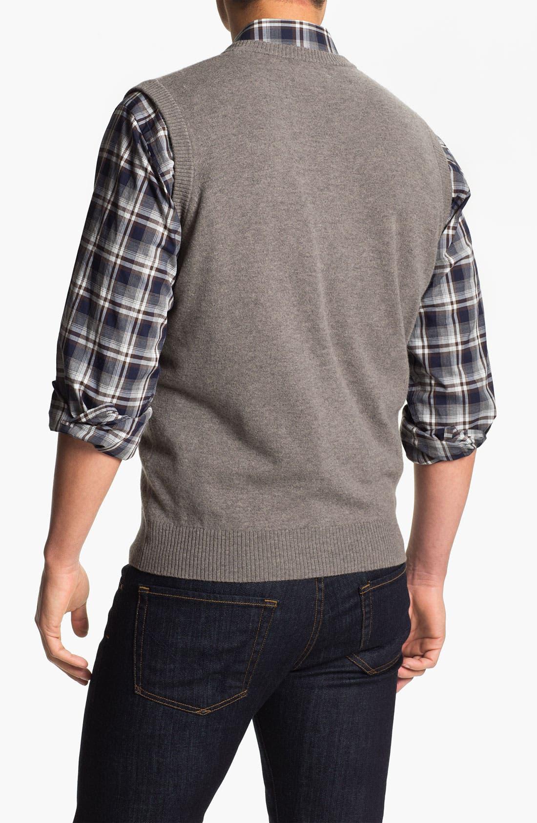 FRANCO DANTI,                             V-Neck Wool Sweater Vest,                             Alternate thumbnail 2, color,                             200