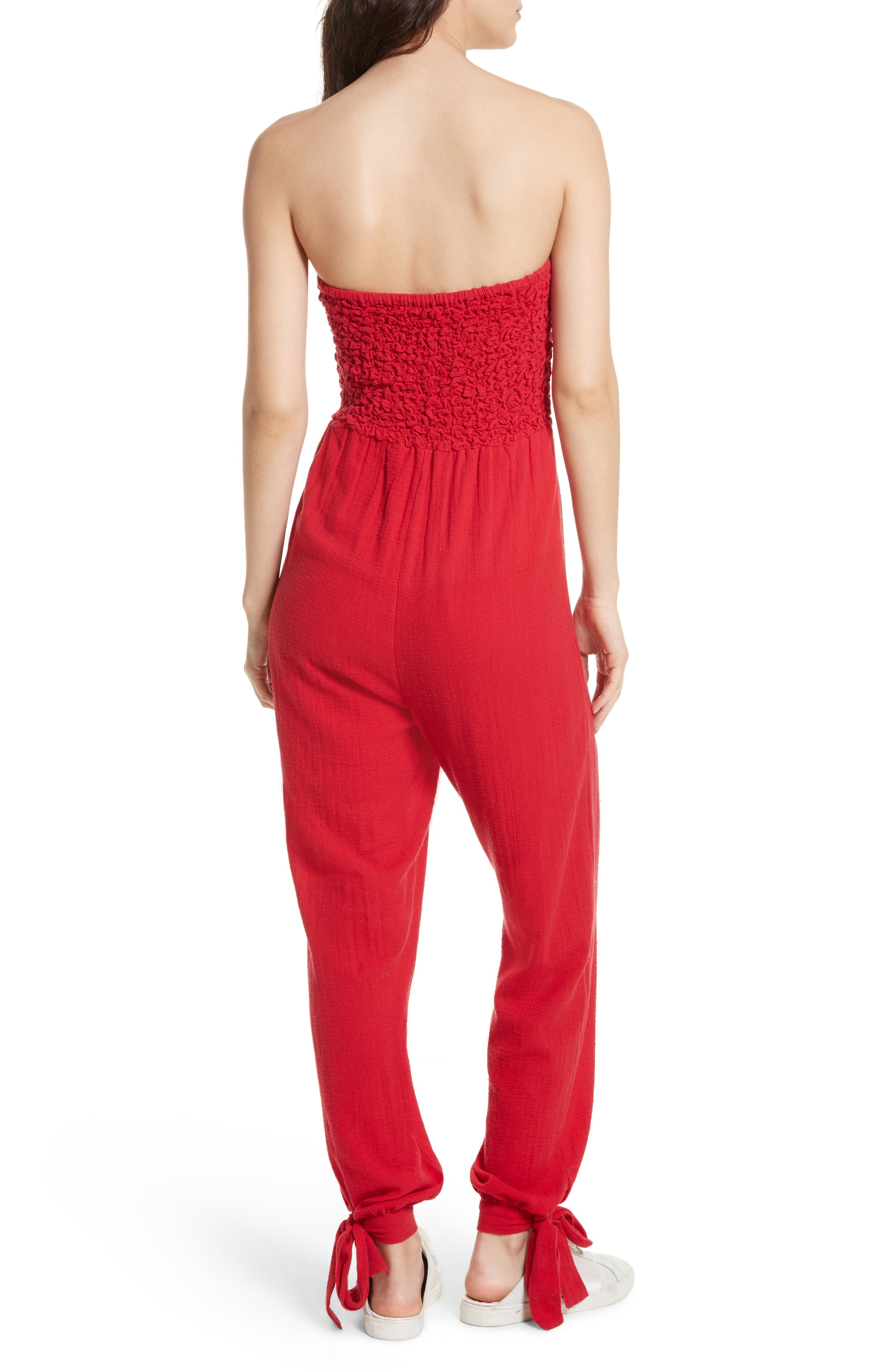 Karan Strapless Smocked Jumpsuit,                             Alternate thumbnail 4, color,