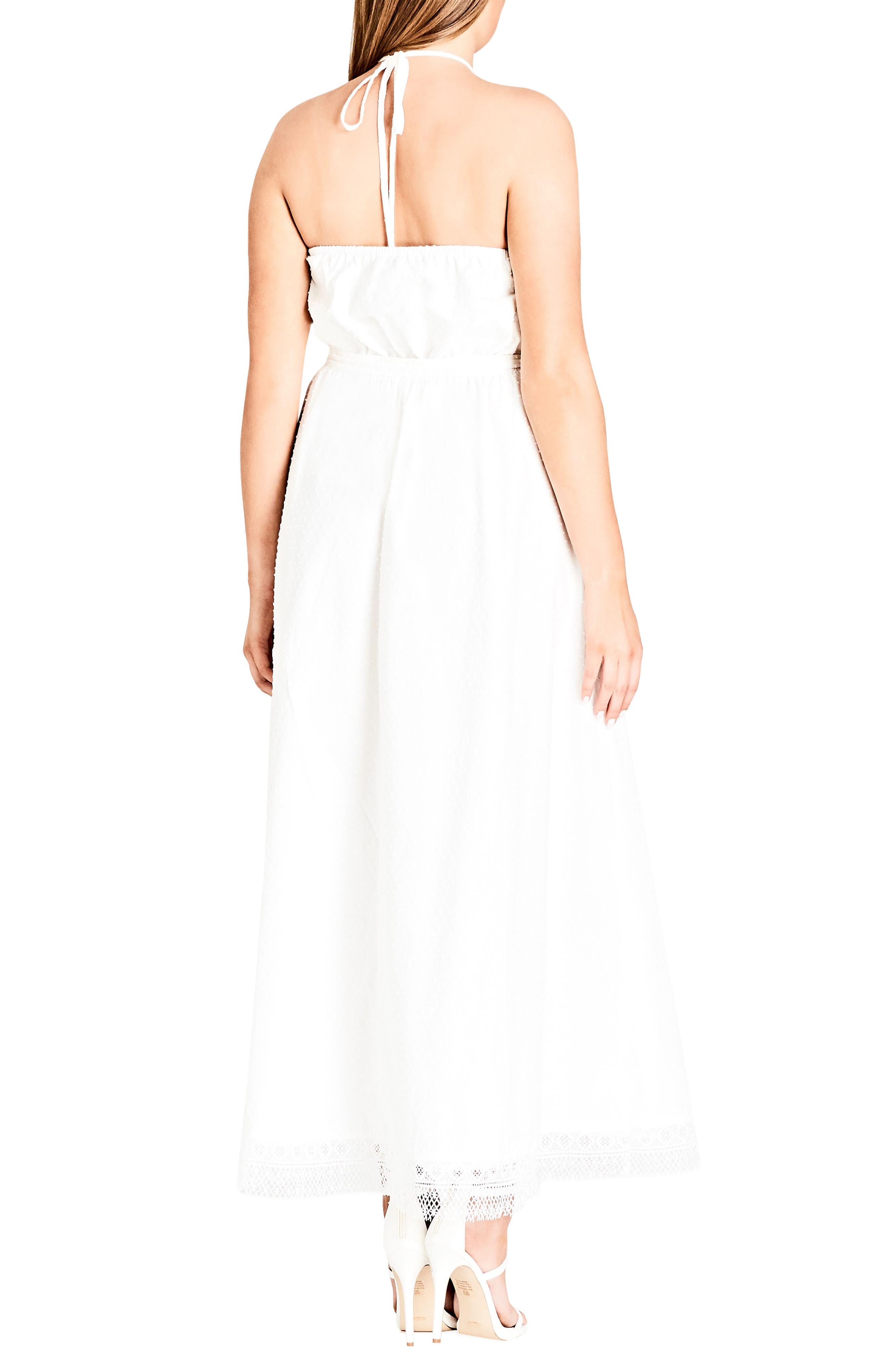 Lace Trim Swiss Dot Halter Maxi Dress,                             Alternate thumbnail 2, color,                             IVORY