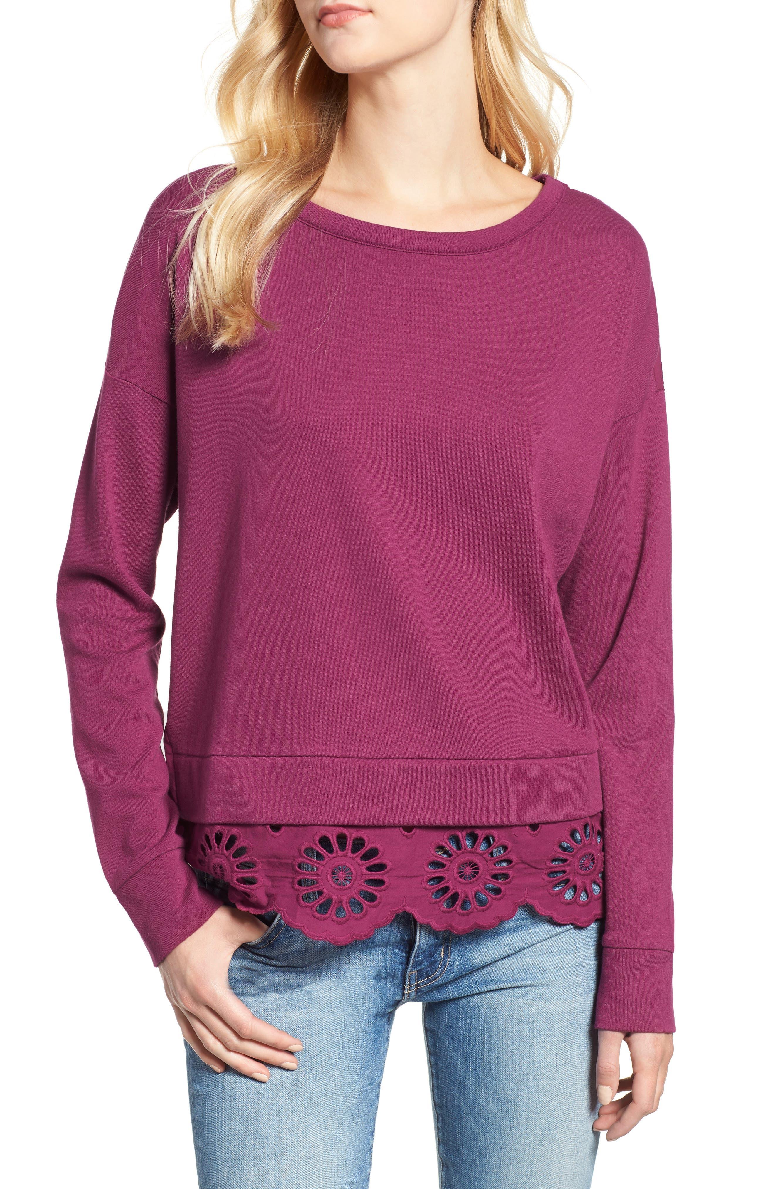 Eyelet Trim Sweatshirt,                             Main thumbnail 1, color,                             PURPLE FUCHSIA
