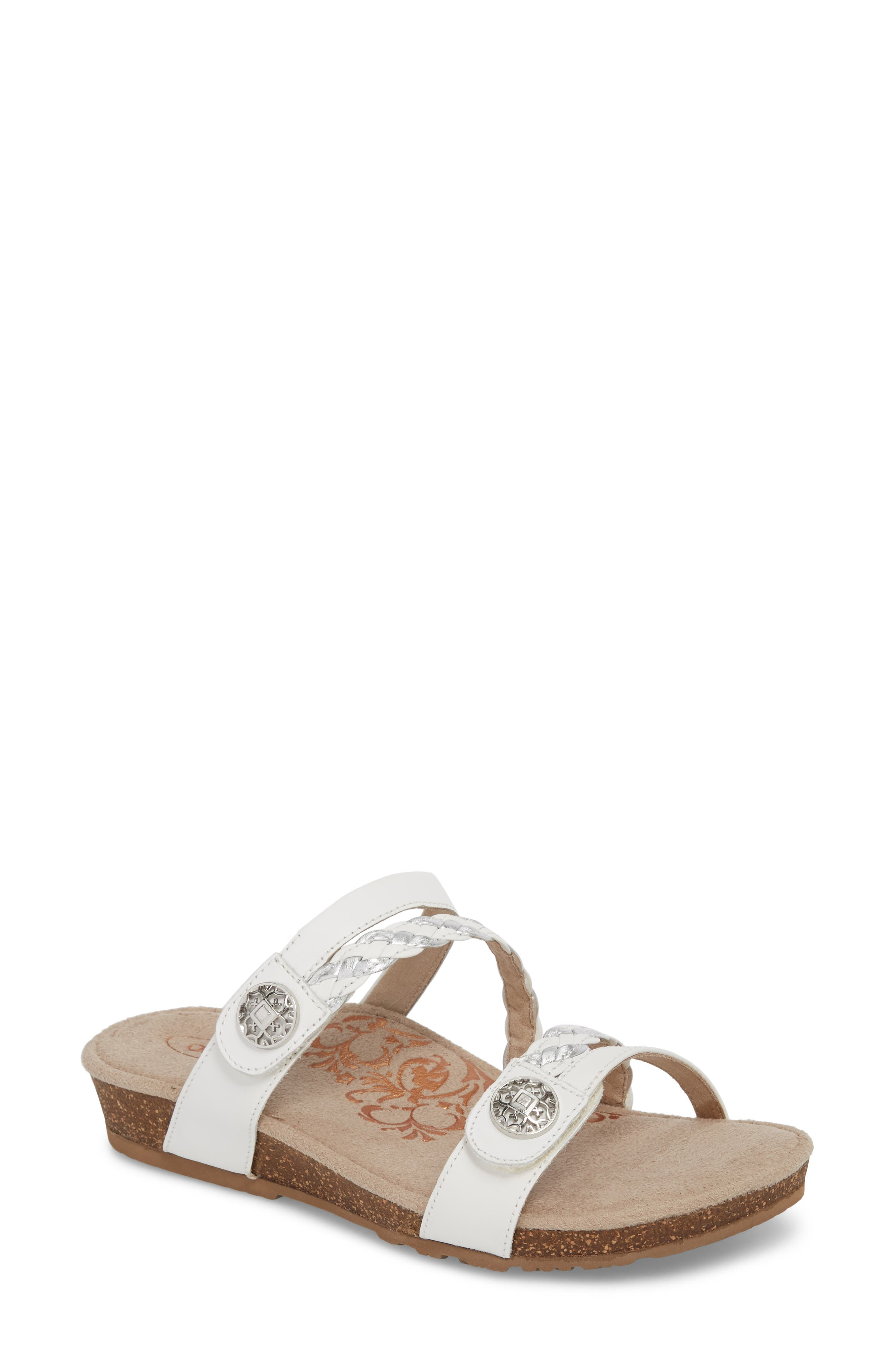 Janey Braided Slide Sandal,                         Main,                         color, WHITE LEATHER