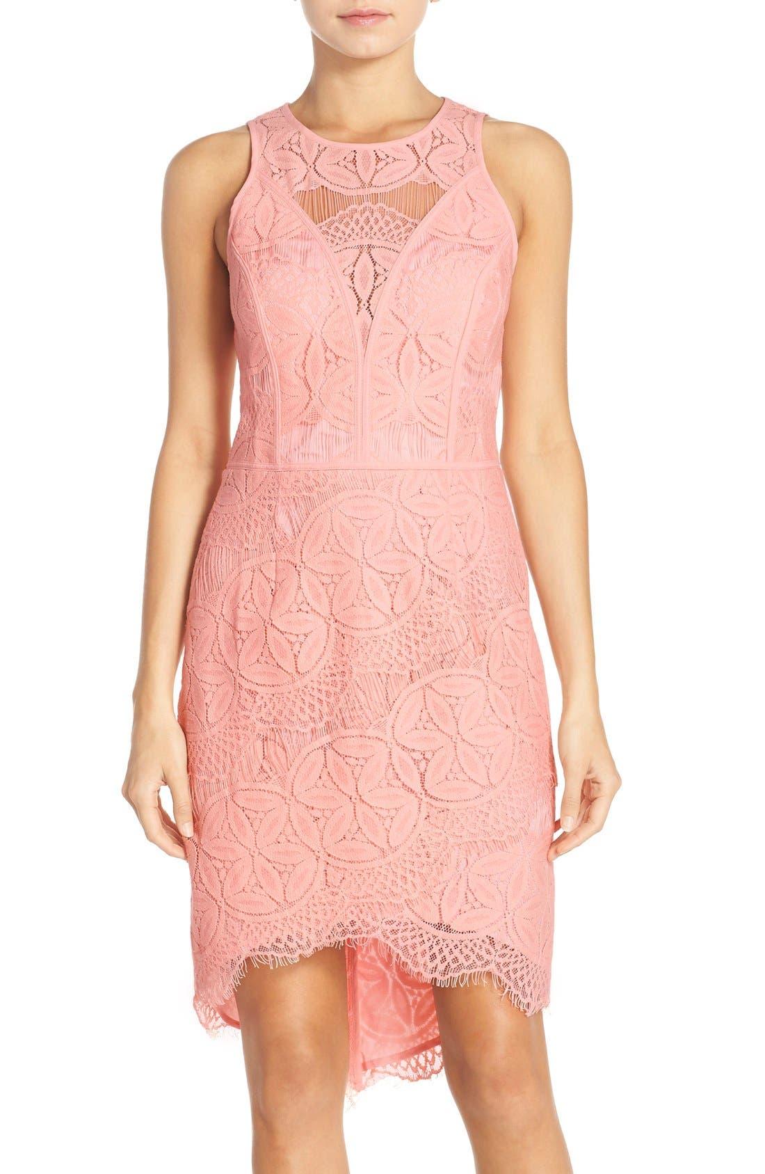Lace High/Low Sheath Dress,                             Main thumbnail 10, color,