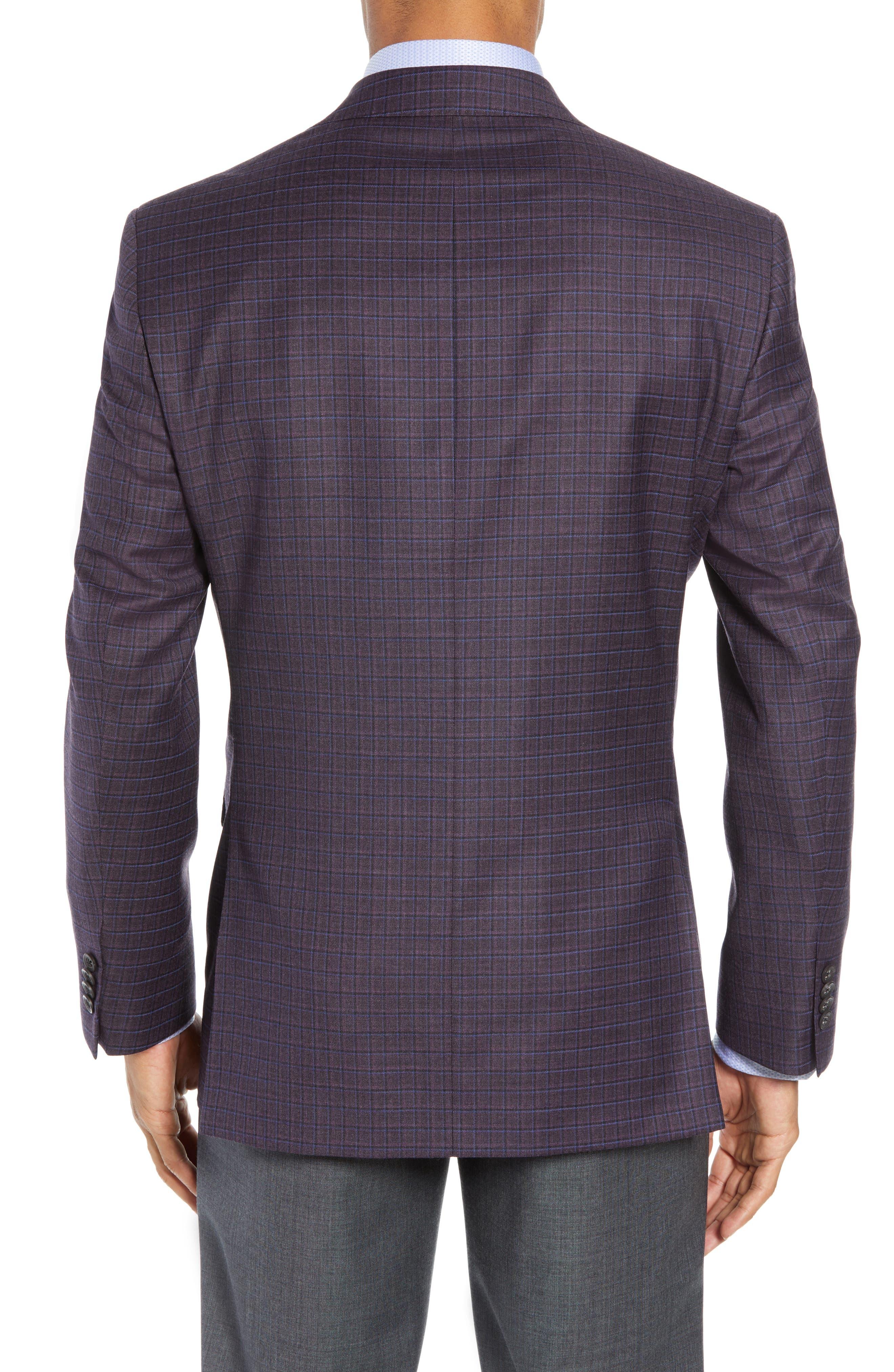 Connor Classic Fit Check Wool Sport Coat,                             Alternate thumbnail 2, color,                             BORDEAUX