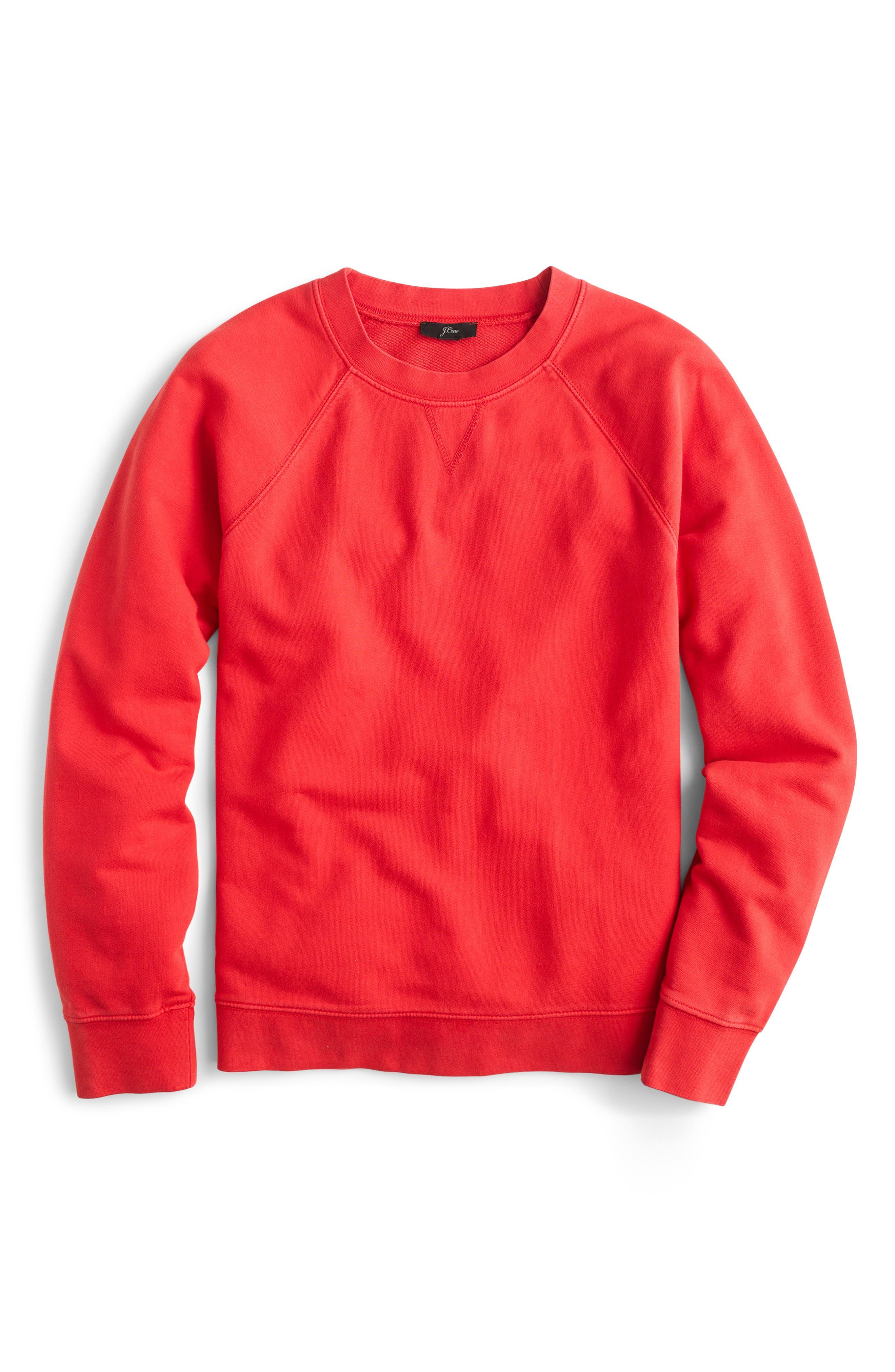 J.crew Garment Dyed Sweatshirt, Red