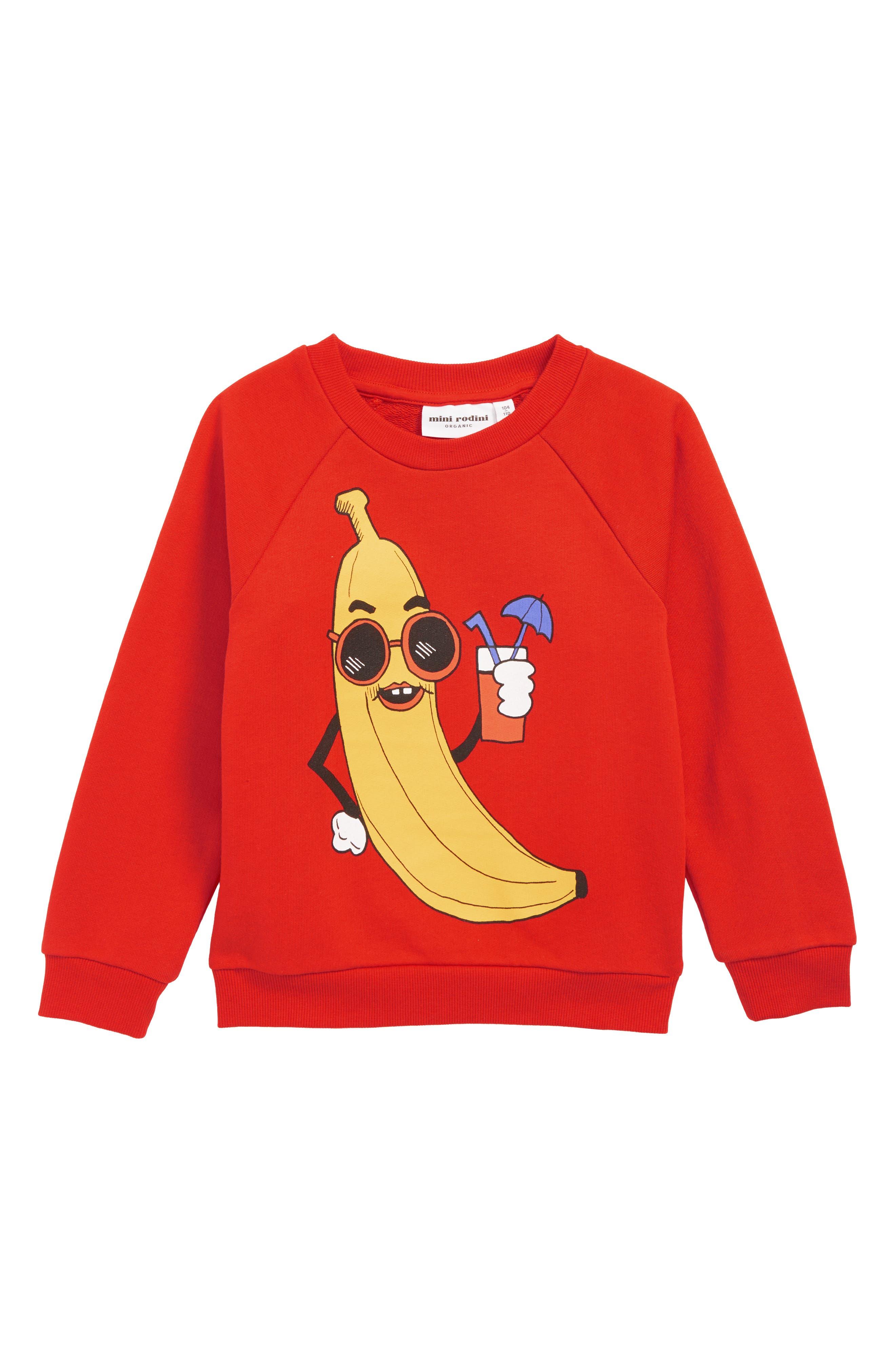 Banana Sweatshirt,                             Main thumbnail 1, color,                             RED
