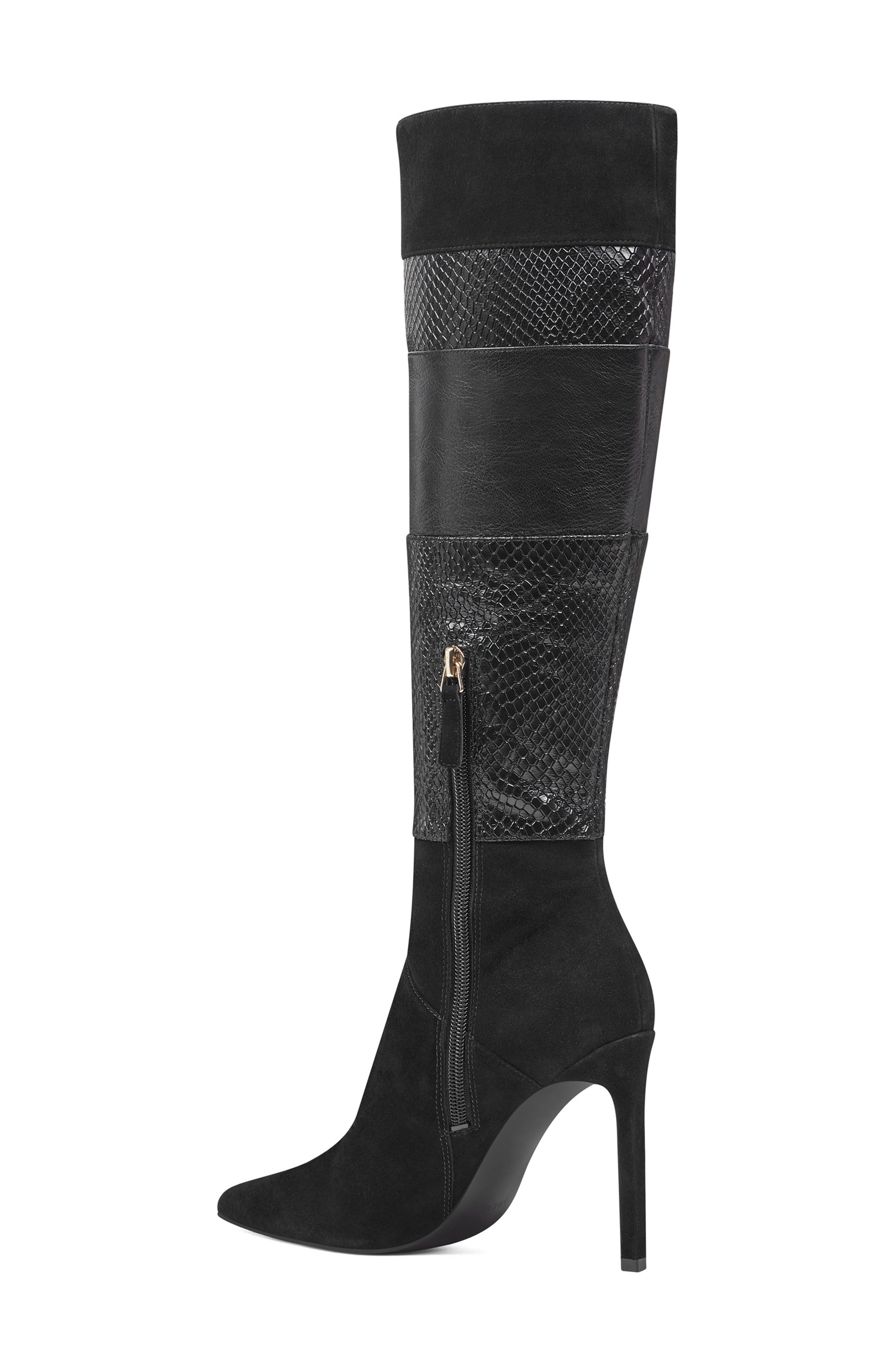 Toprank Blocked Knee High Boot,                             Alternate thumbnail 2, color,                             BLACK SUEDE