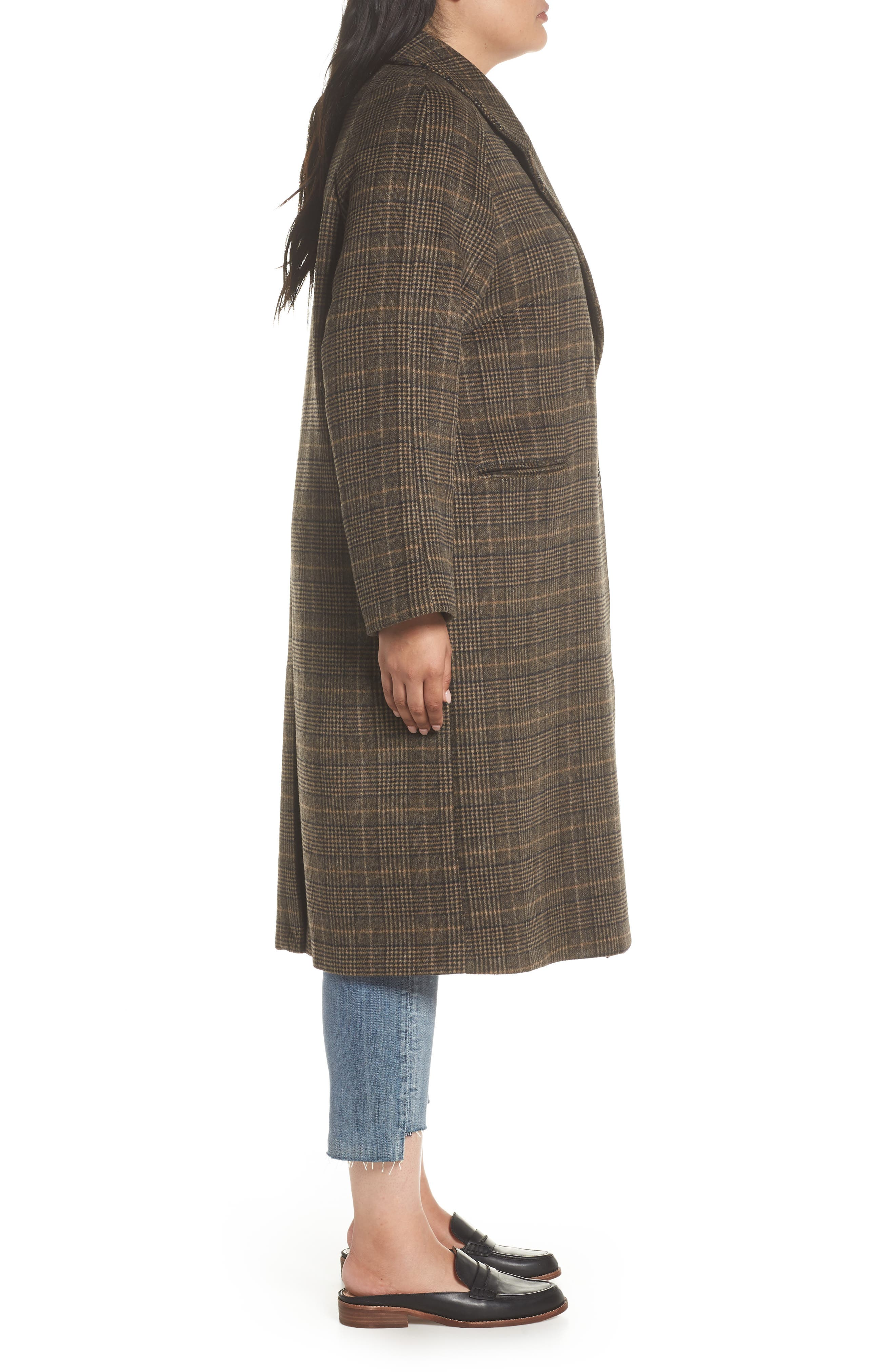 Double Face Plaid Wool Blend Coat,                             Alternate thumbnail 3, color,                             218
