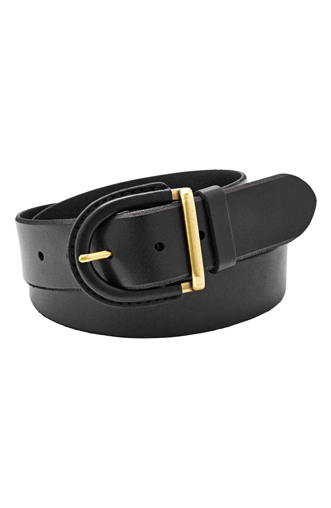 Leather Covered Buckle Belt,                             Main thumbnail 1, color,                             001
