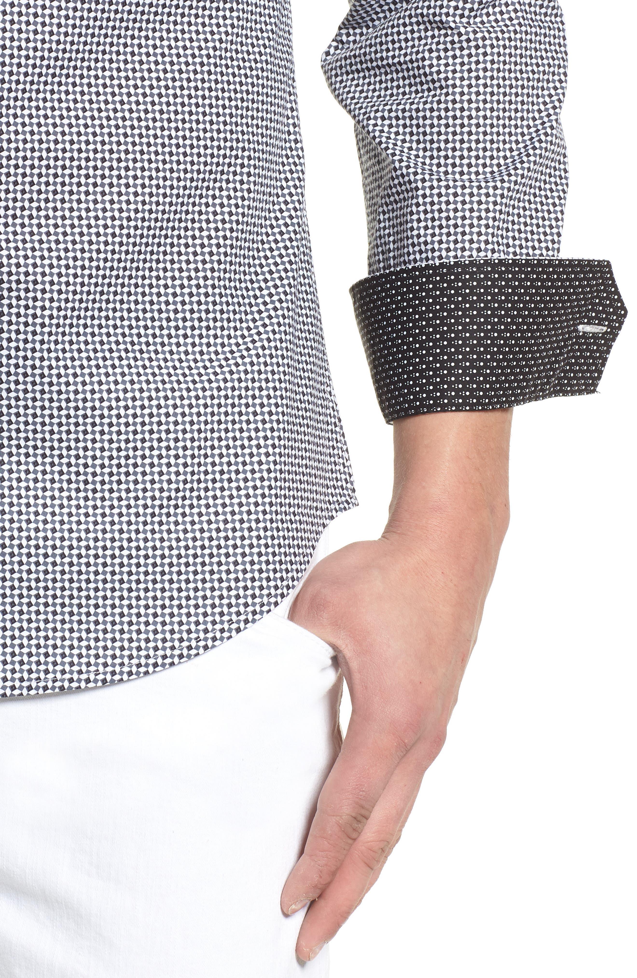 Shaped Fit Diamond Print Sport Shirt,                             Alternate thumbnail 4, color,                             020