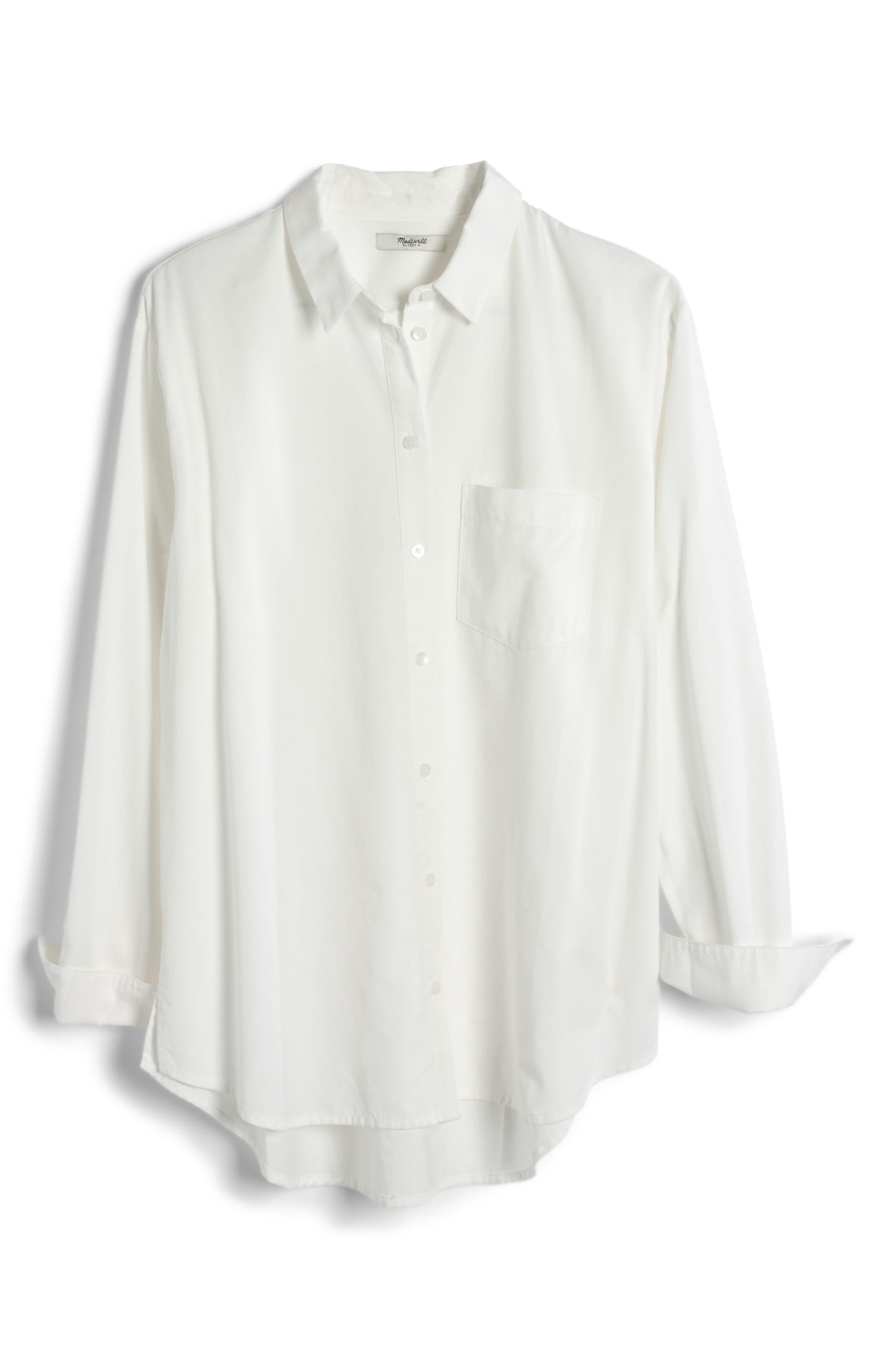 Drapey Oversize Boyshirt,                             Alternate thumbnail 4, color,                             PURE WHITE