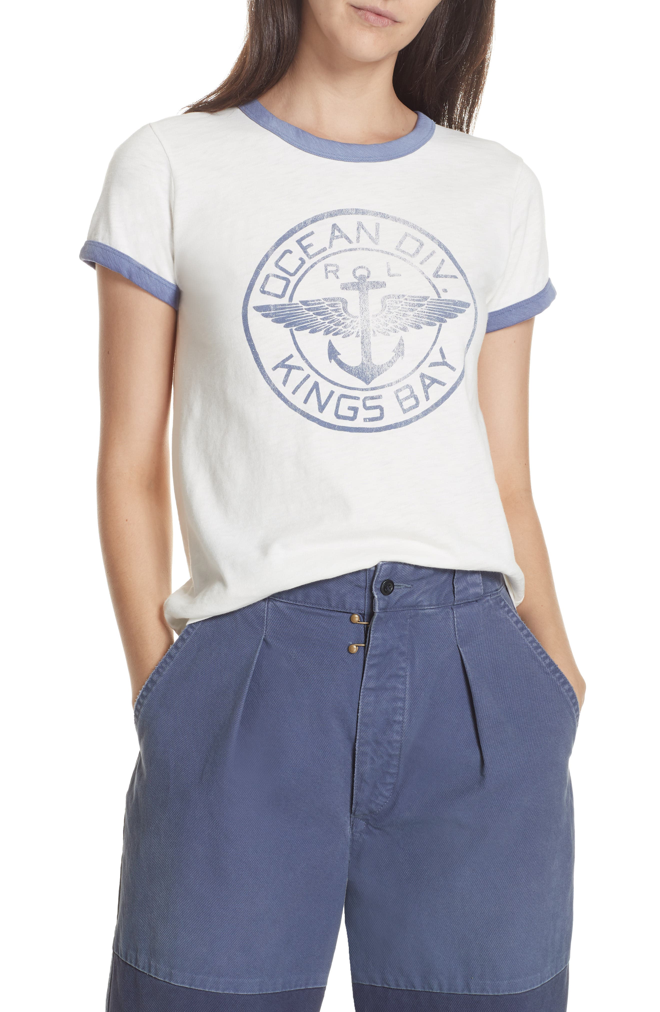 Naval Ringer Tee,                         Main,                         color, 100