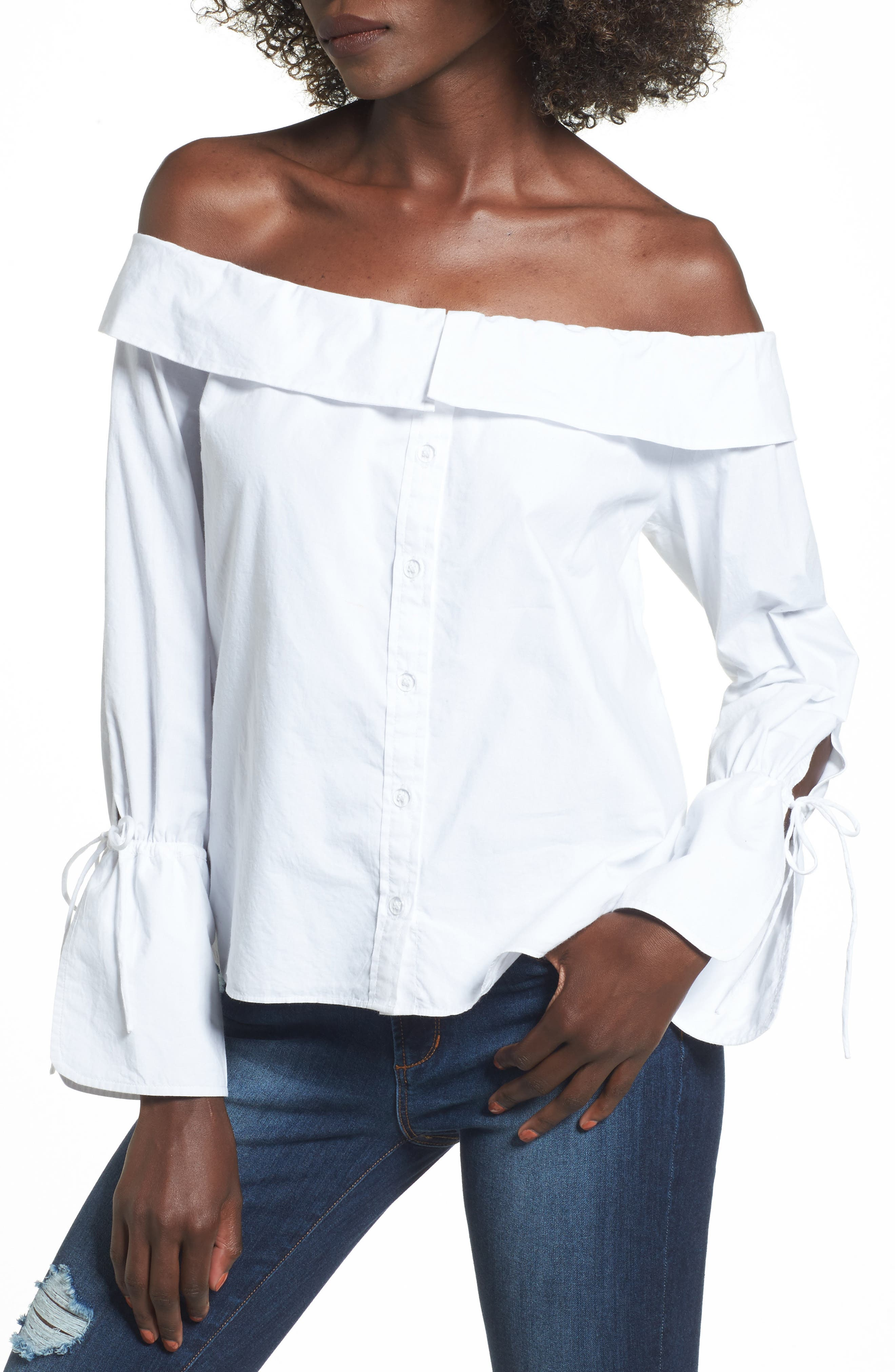 L'Academie Aria Off the Shoulder Blouse,                             Main thumbnail 1, color,                             100