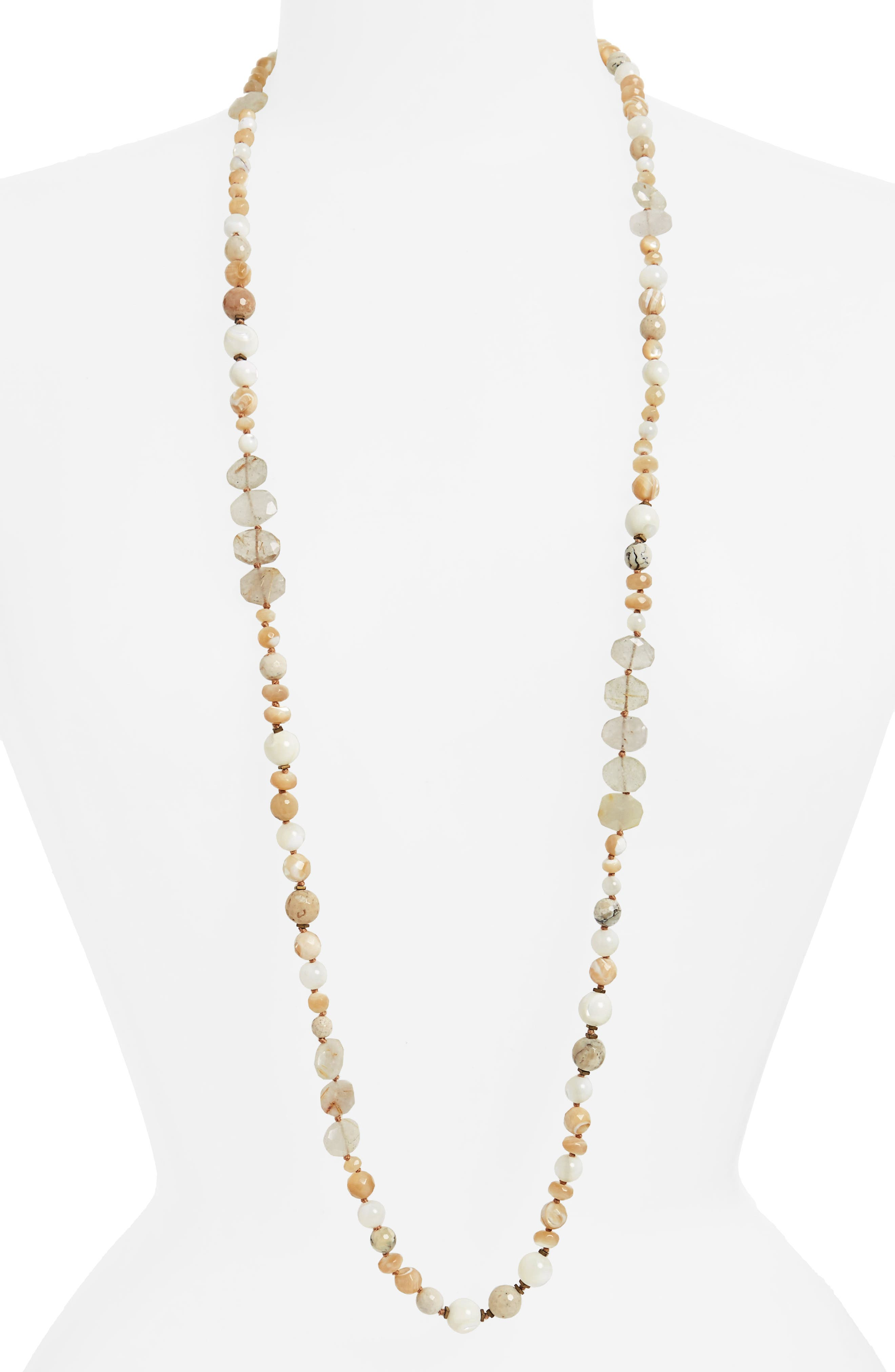 Semiprecious Stone Strand Necklace,                             Main thumbnail 1, color,                             100