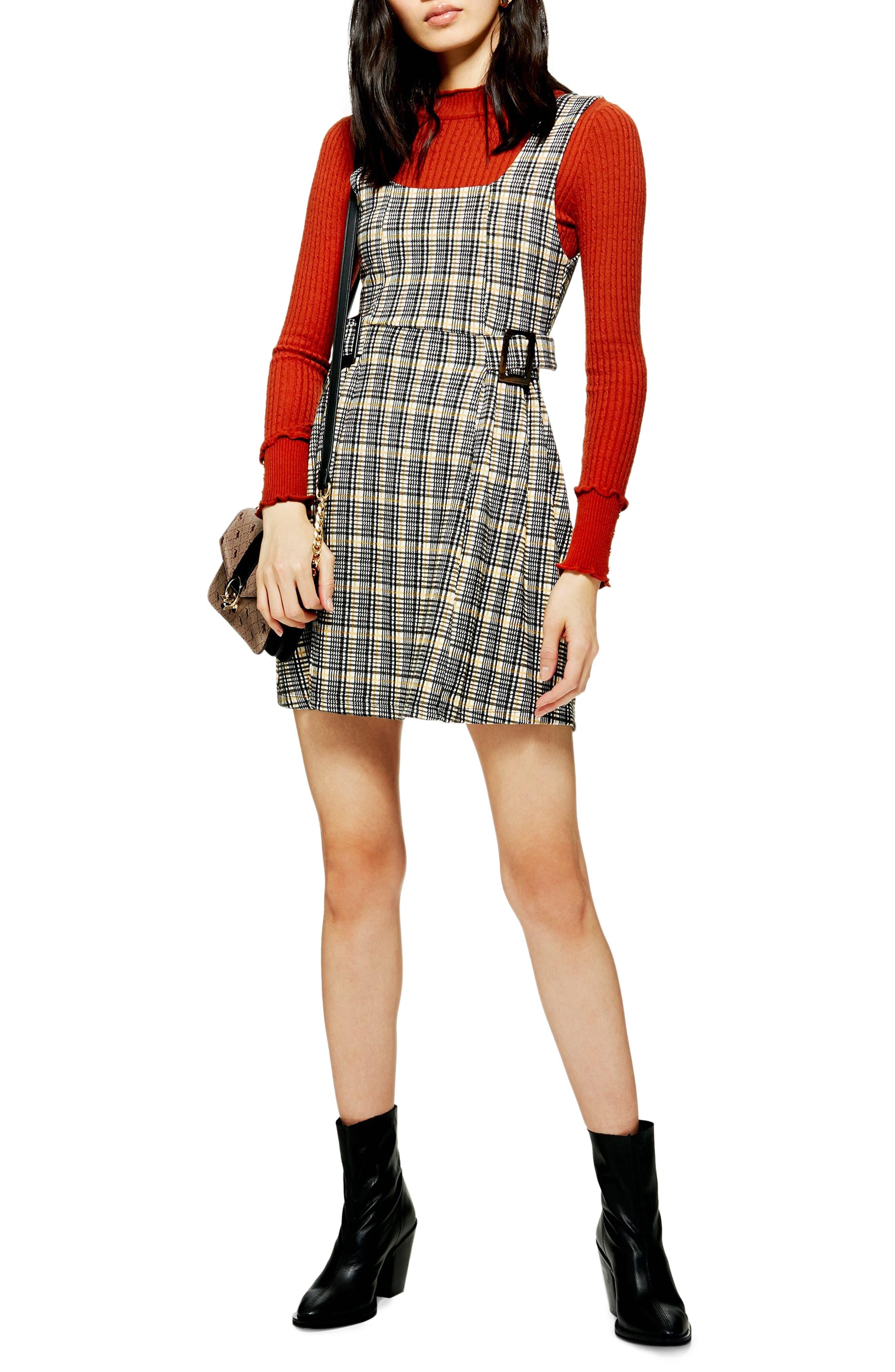Petite Topshop Check Print Pinafore Dress, P US (fits like 0P) - Black