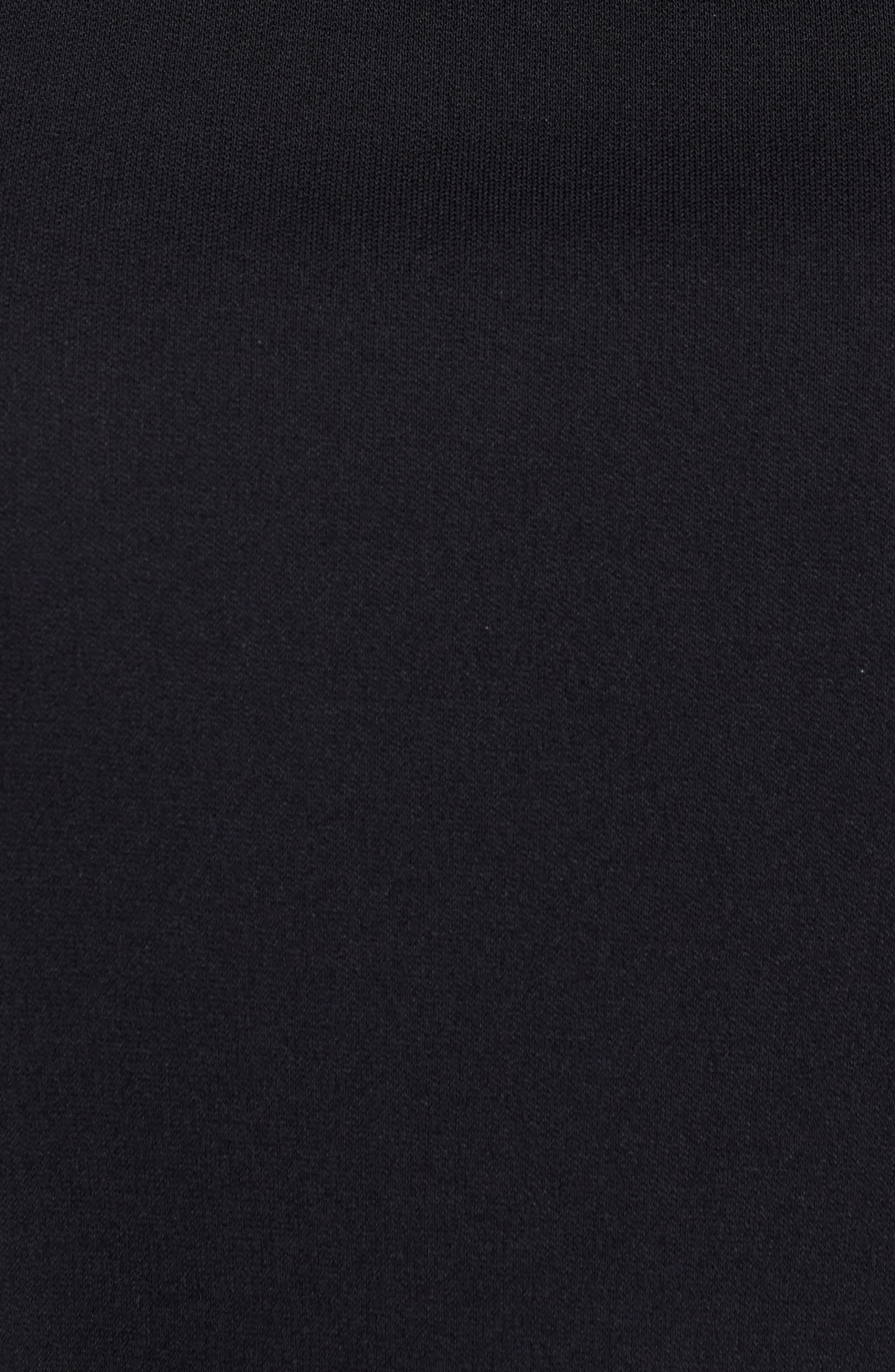 Sheer Yoke Shift Dress,                             Alternate thumbnail 5, color,                             RICH BLACK