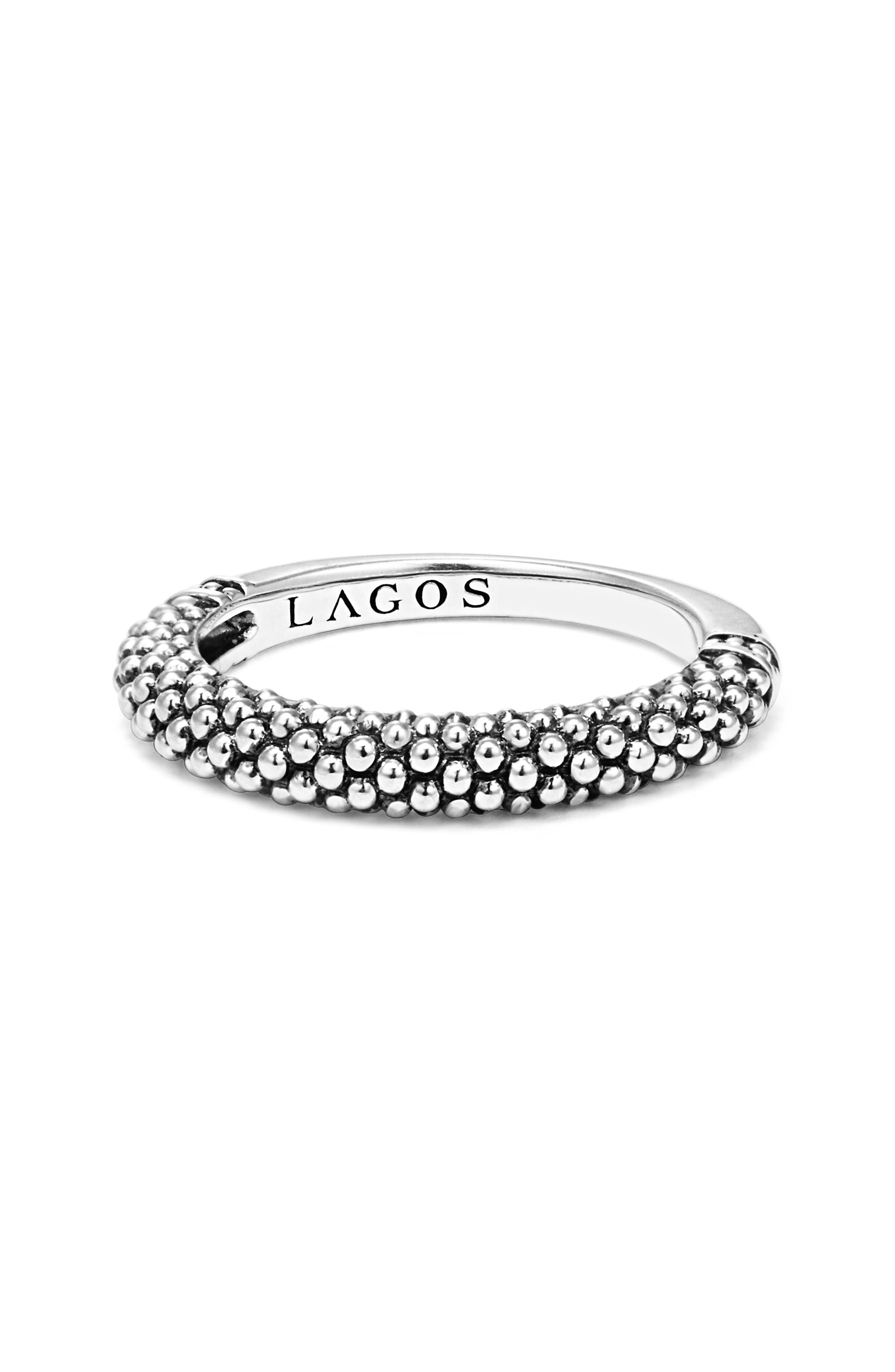 Caviar Stacking Ring,                             Alternate thumbnail 4, color,                             SILVER