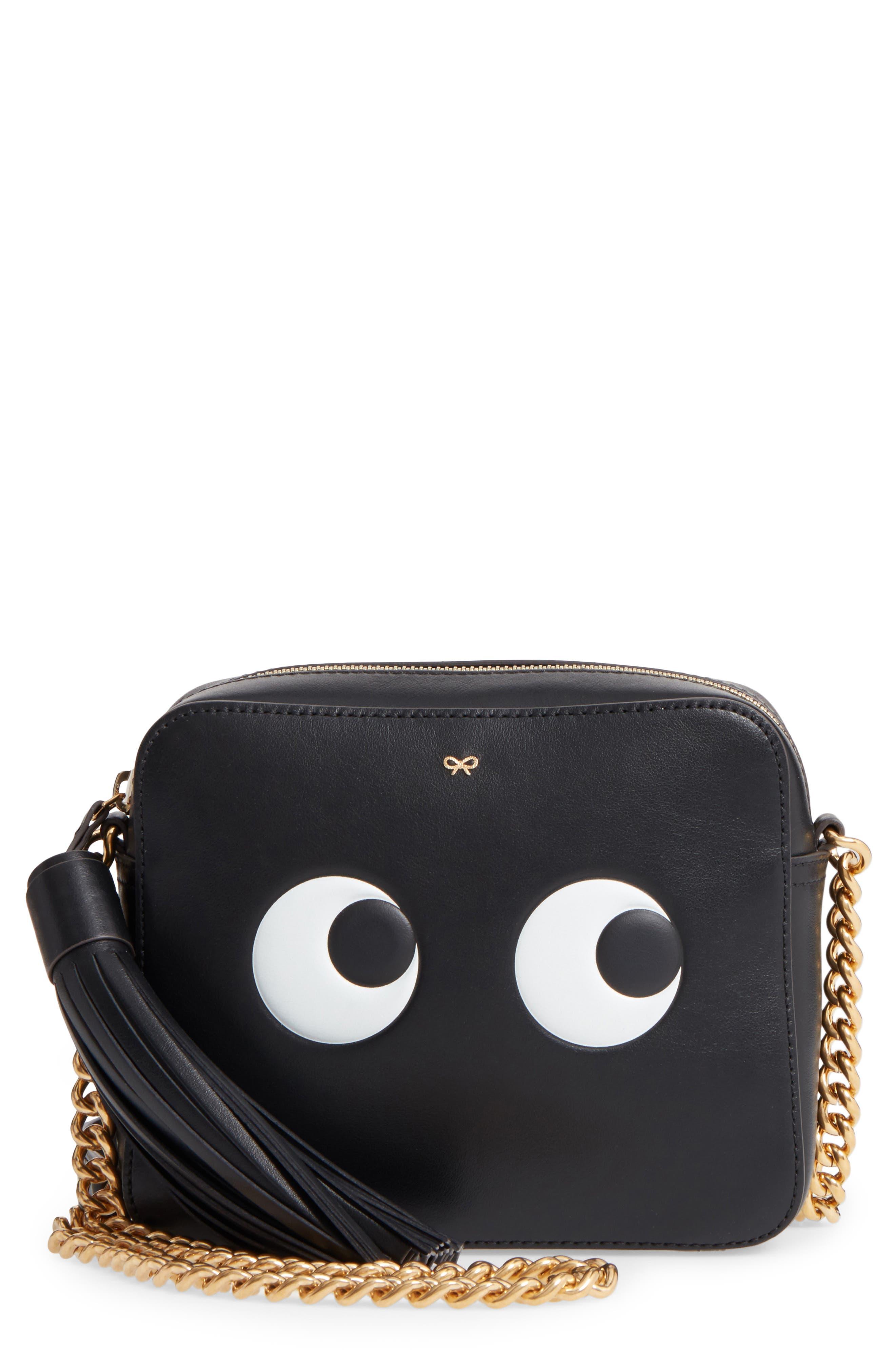 Eyes Camera Leather Crossbody Bag,                         Main,                         color, BLACK