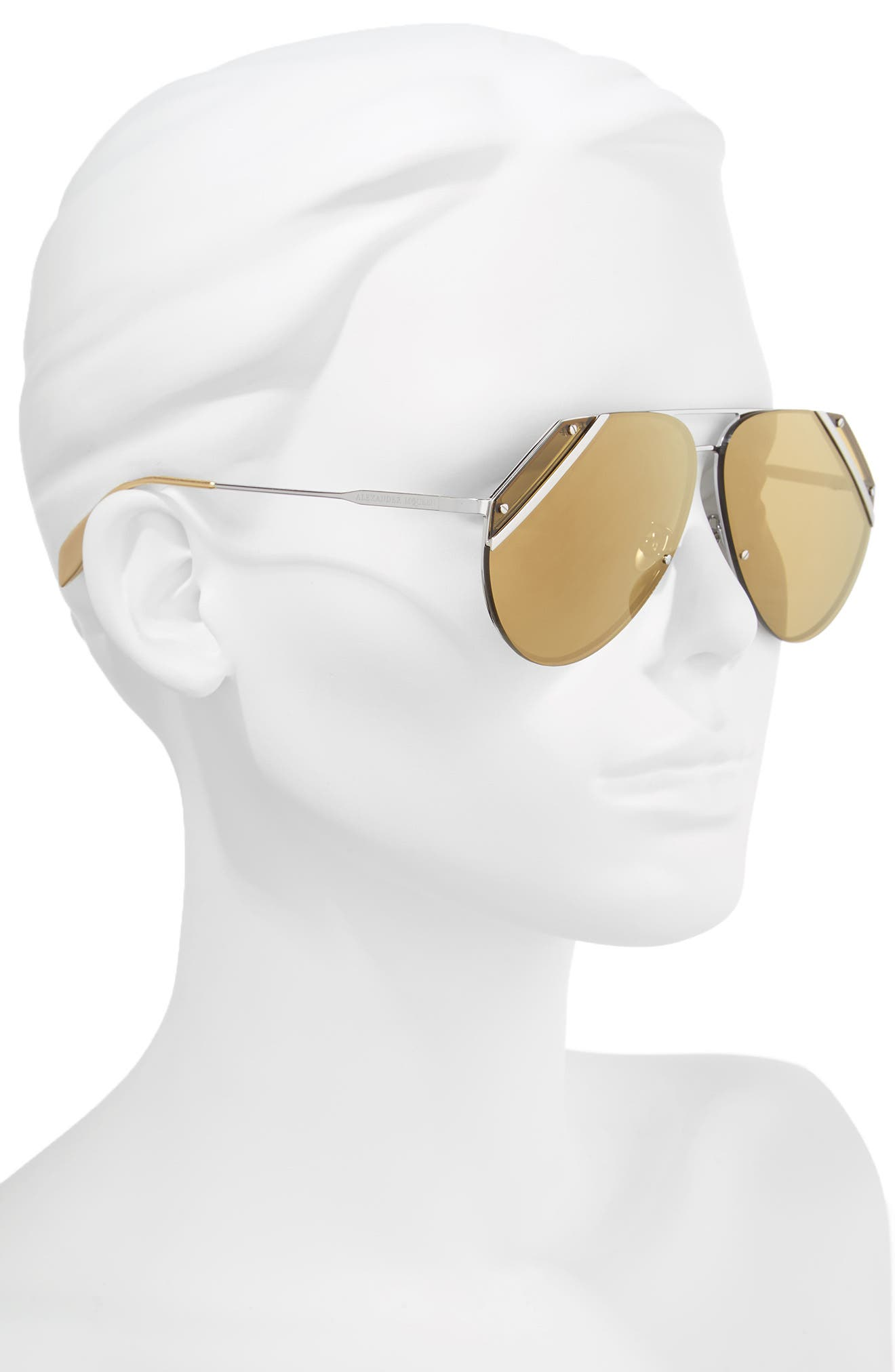 65mm Snip Frame Aviator Sunglasses,                             Alternate thumbnail 2, color,                             040
