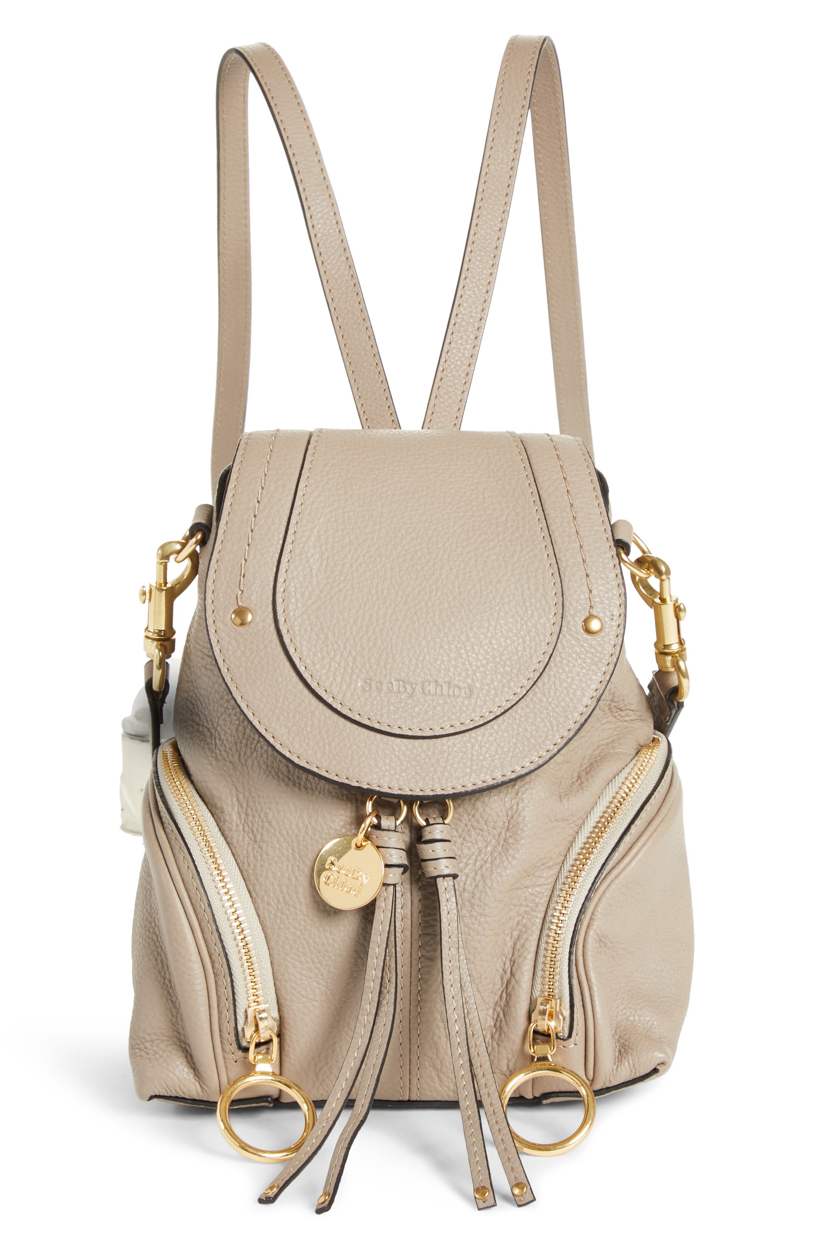 See By Chloe Small Olga Leather Backpack - Grey
