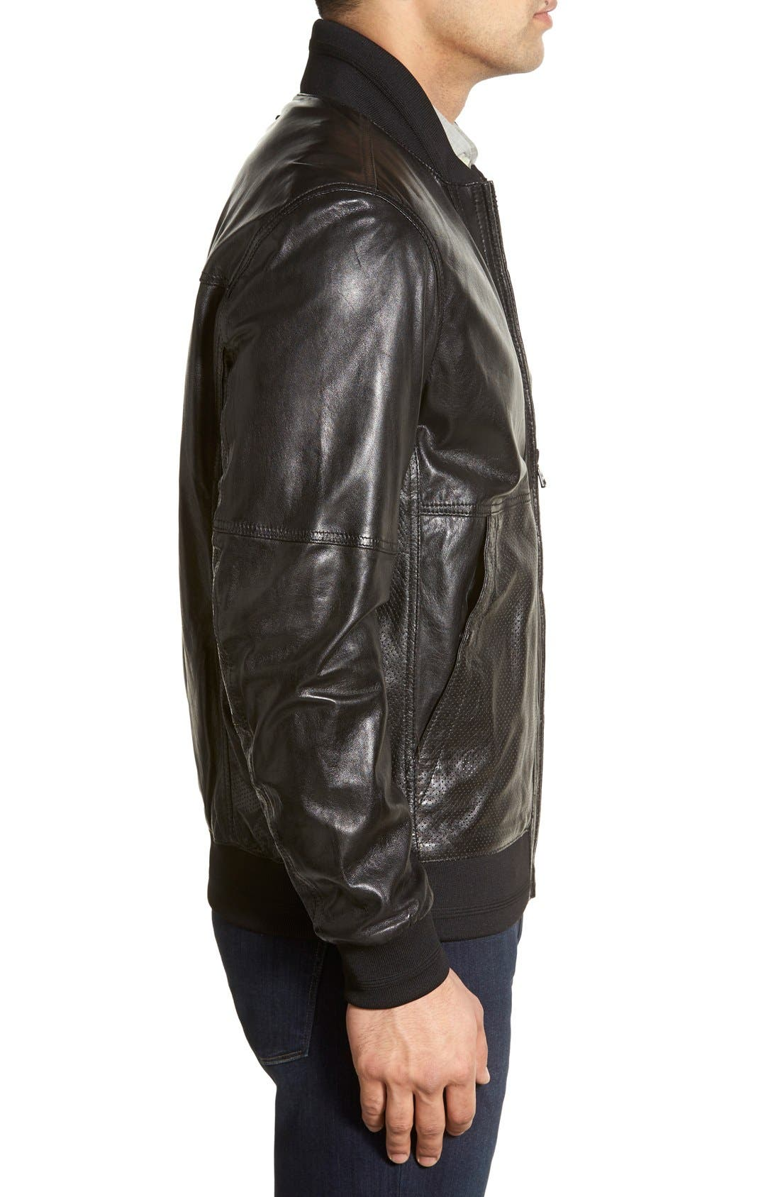 MARC NEW YORK,                             'Newport' Leather Bomber Jacket,                             Alternate thumbnail 4, color,                             001