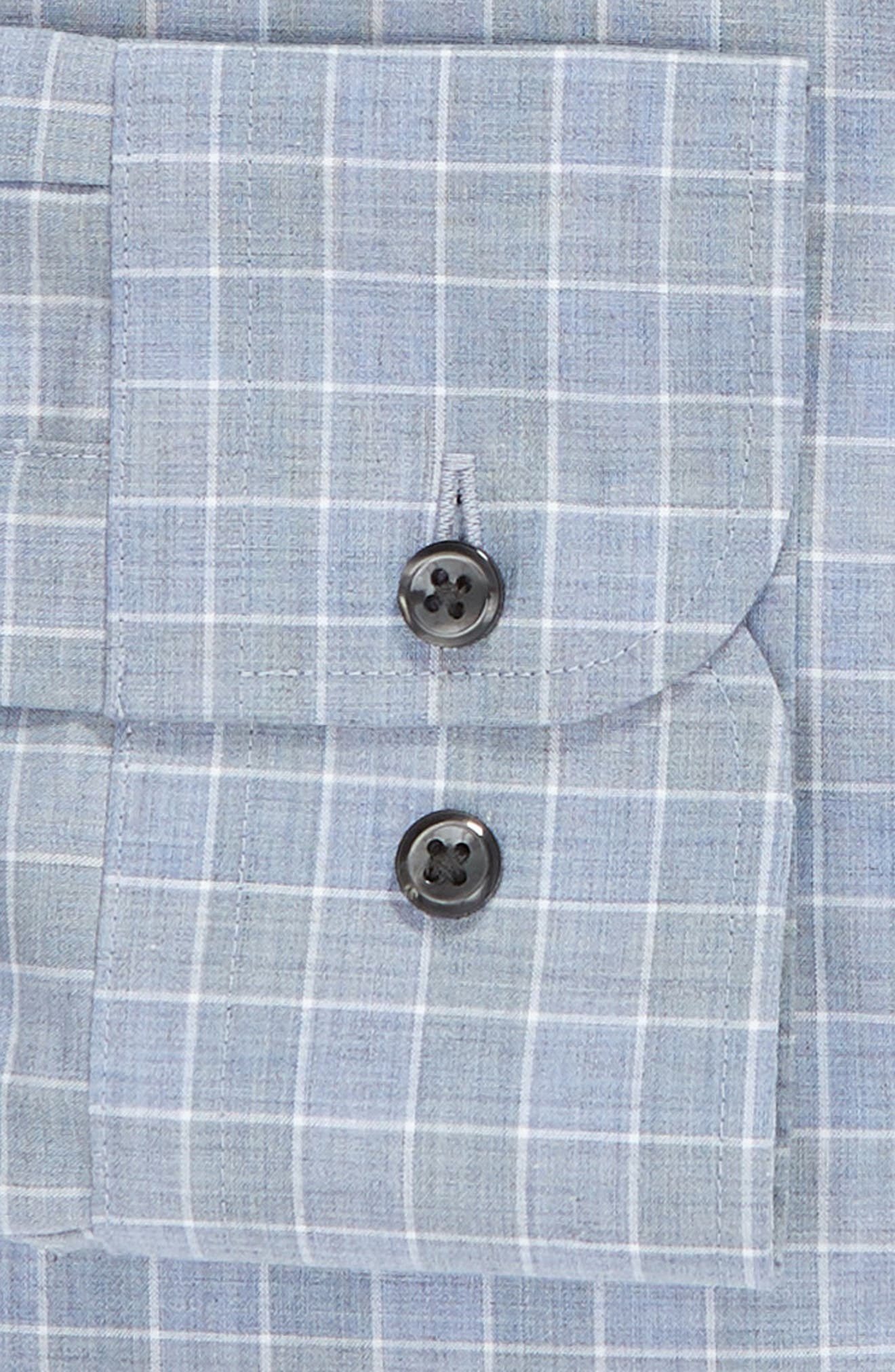 Traditional Fit No-Iron Check Dress Shirt,                             Alternate thumbnail 6, color,                             BLUE INFINITY