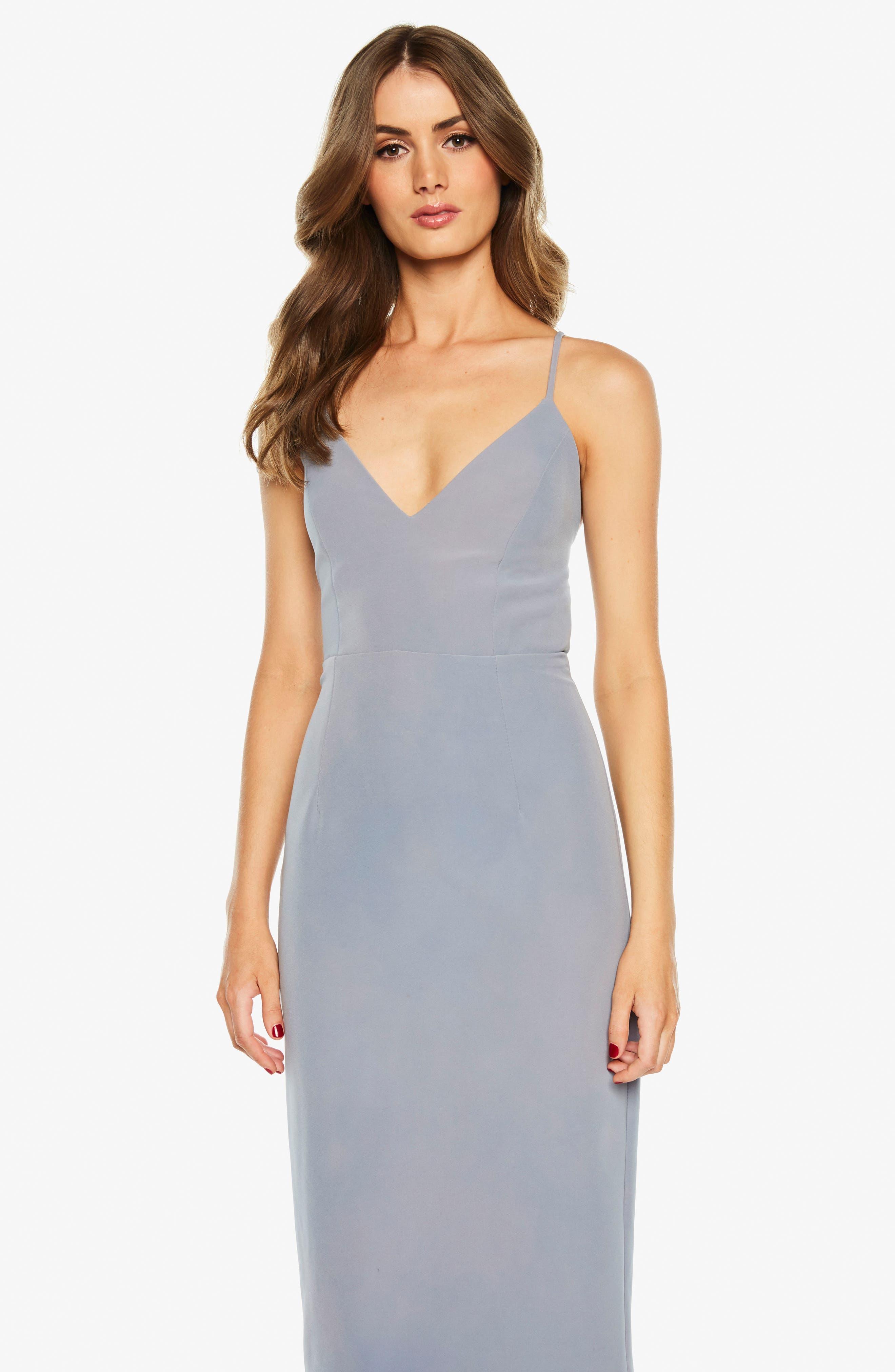 Asymmetrical Open Back Dress,                             Alternate thumbnail 6, color,                             425