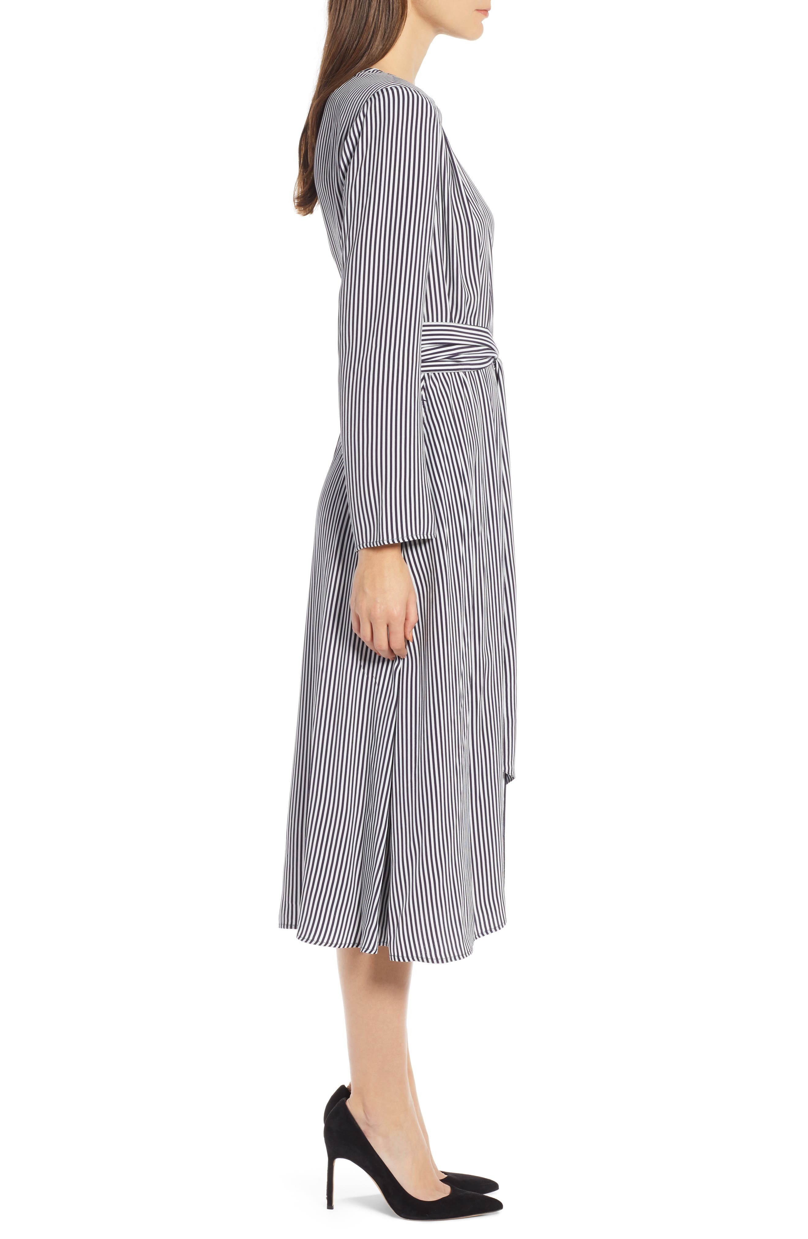 Belted Midi Dress,                             Alternate thumbnail 3, color,                             NAVY NIGHT TWO STRIPE