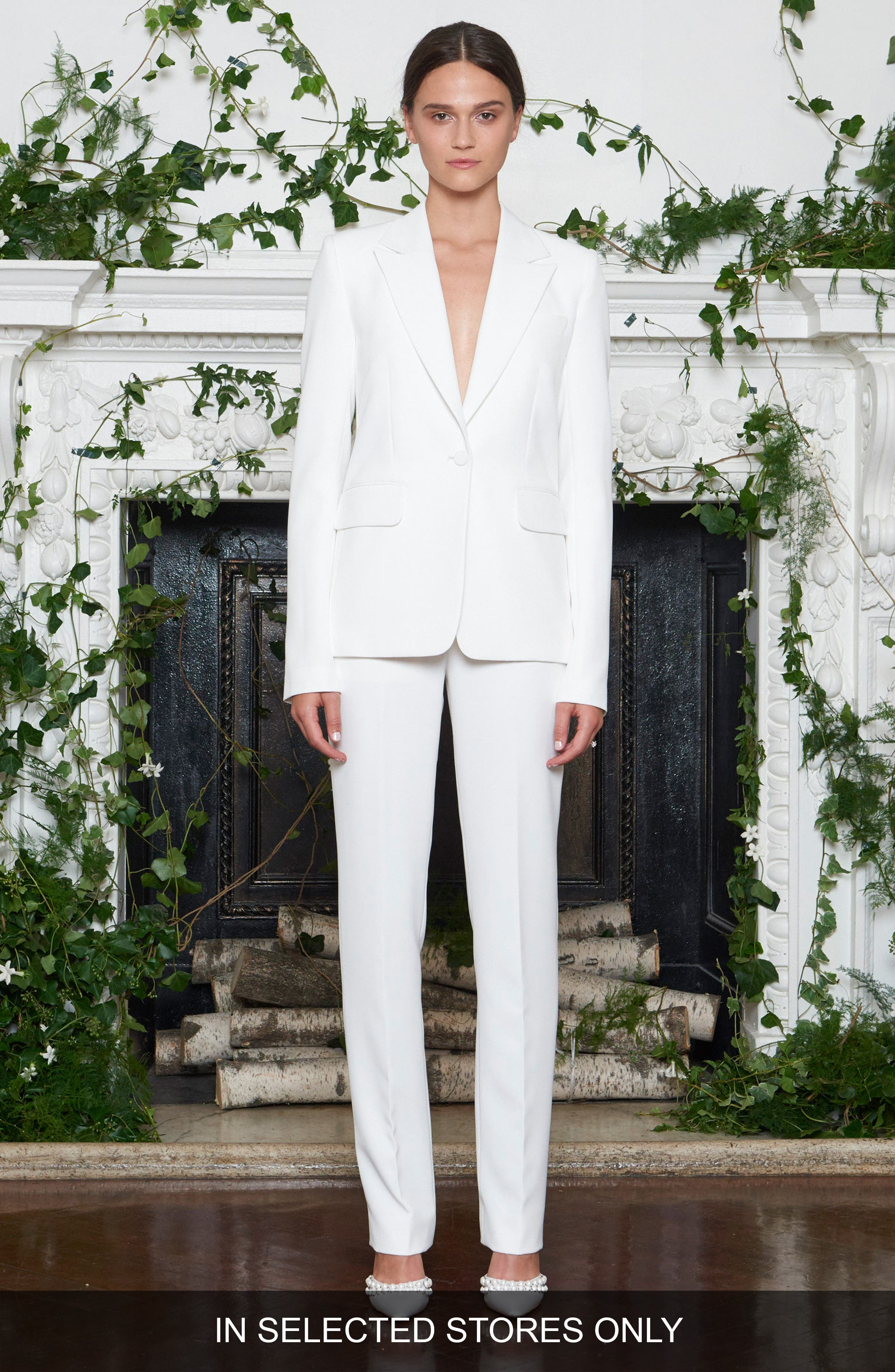 Yoko Double Weave Tuxedo Jacket,                             Main thumbnail 1, color,                             SILK WHITE