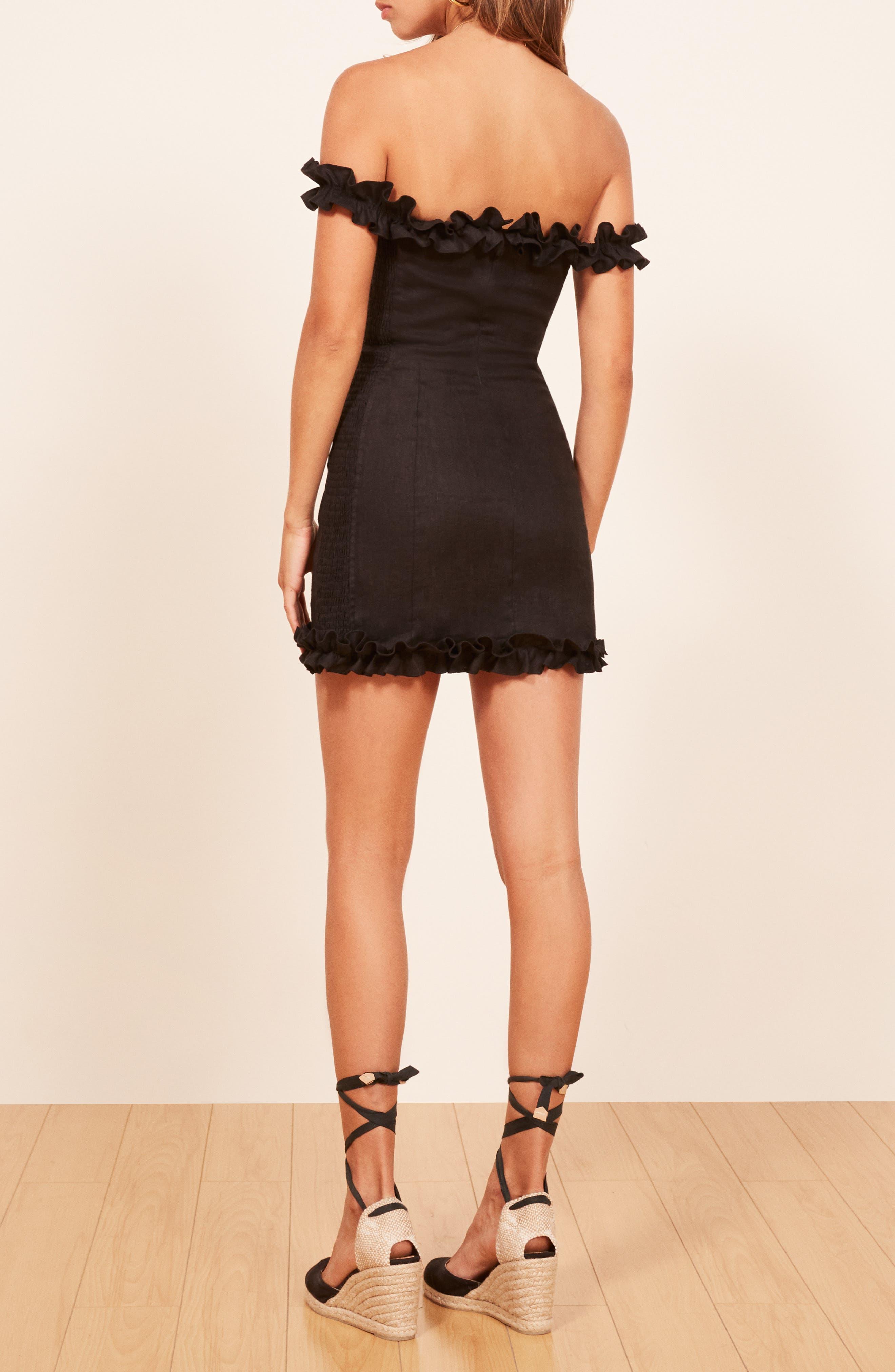 Bonita Linen Body-Con Dress,                             Alternate thumbnail 3, color,                             BLACK