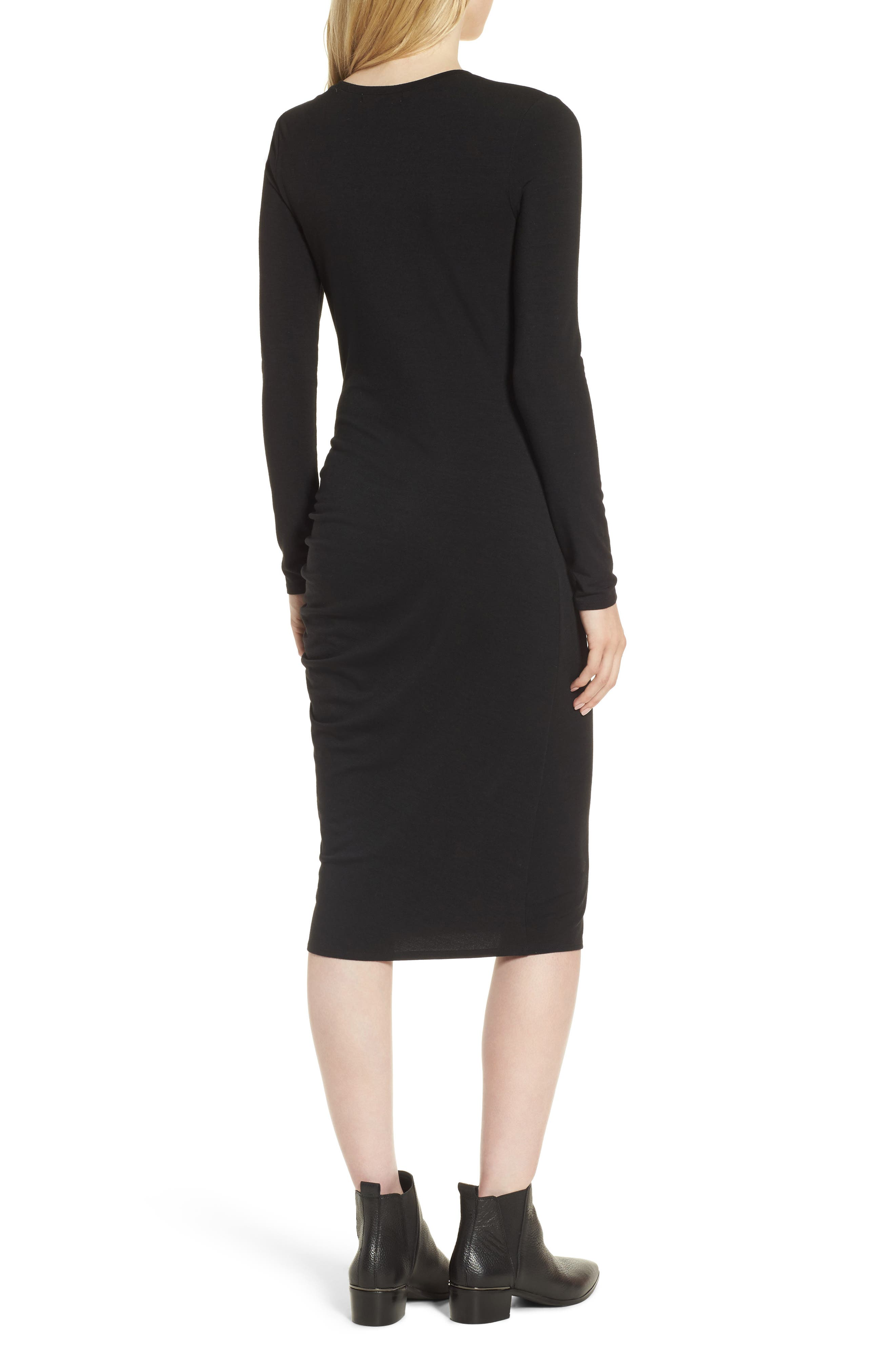 Side Ruched Knit Sheath Dress,                             Alternate thumbnail 2, color,                             001