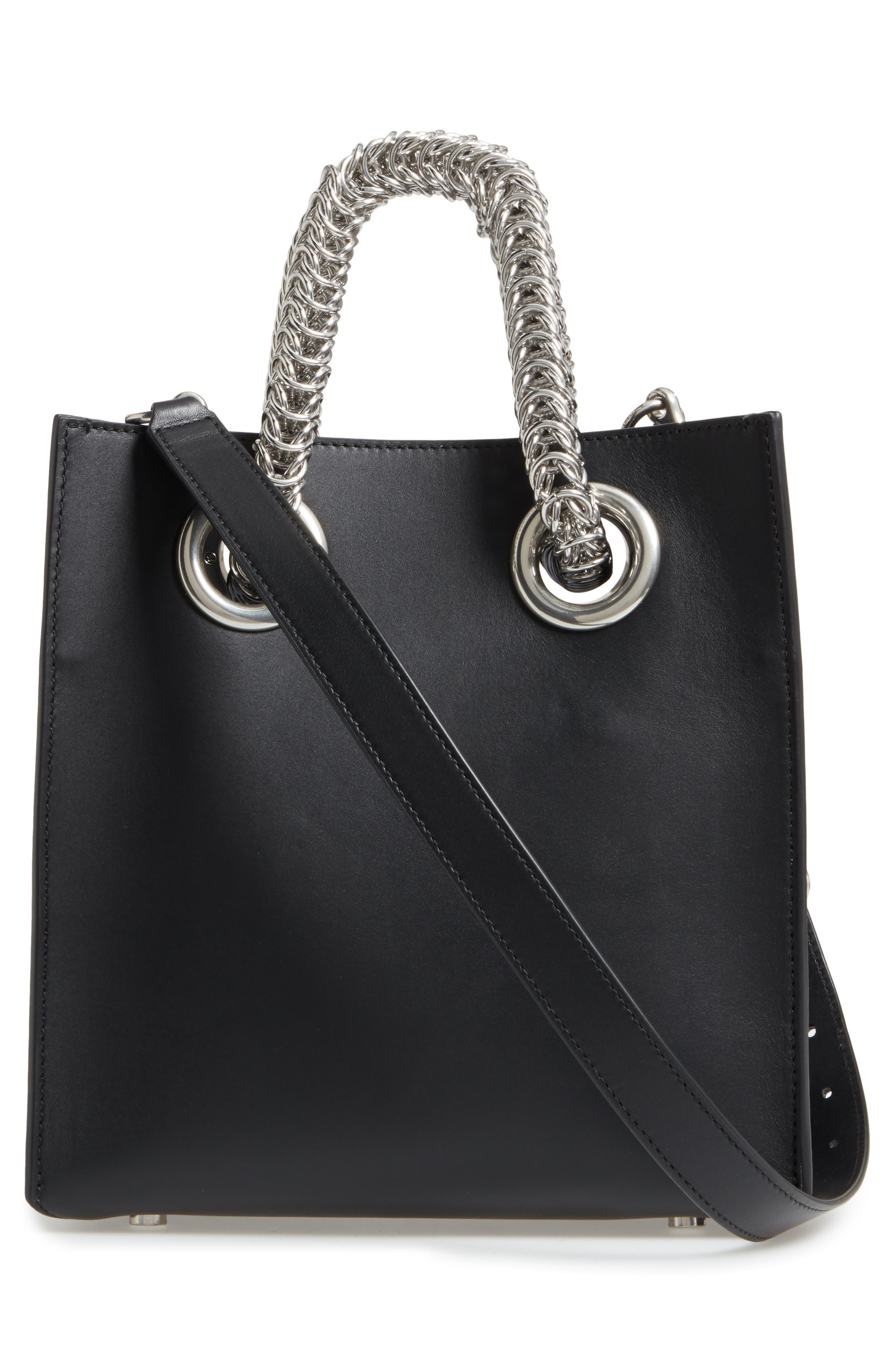Genesis Box Chain Square Leather Shopper,                             Alternate thumbnail 3, color,                             BLACK