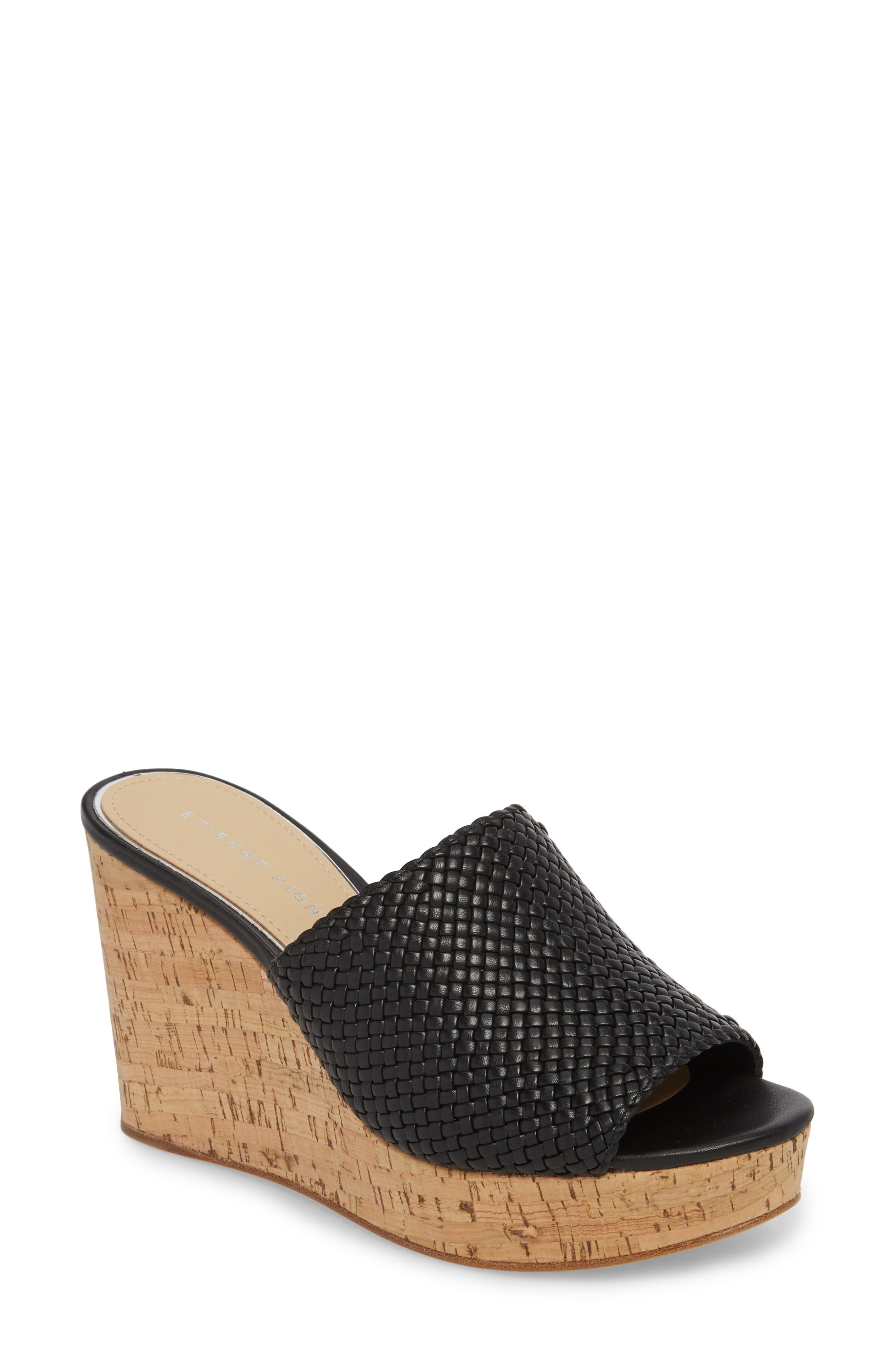 Daiquiri Wedge Mule,                         Main,                         color, BLACK LEATHER