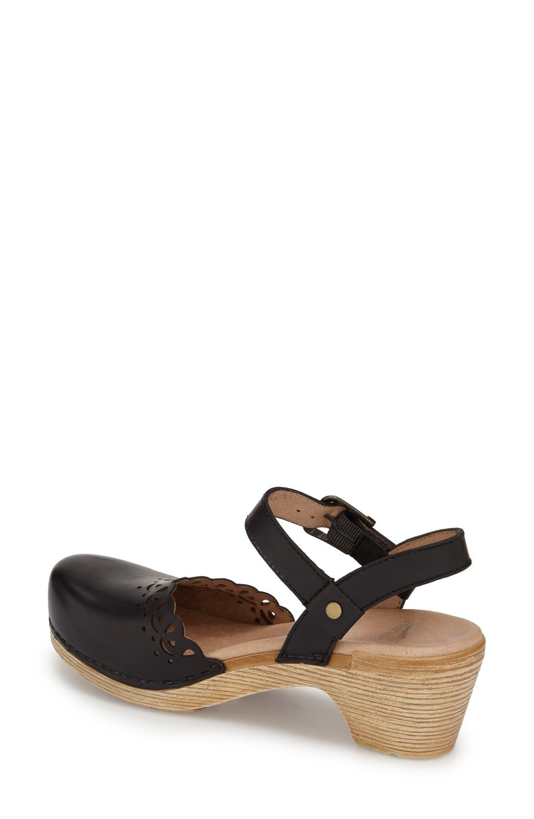 'Marta' Ankle Strap Clog,                             Alternate thumbnail 2, color,                             001