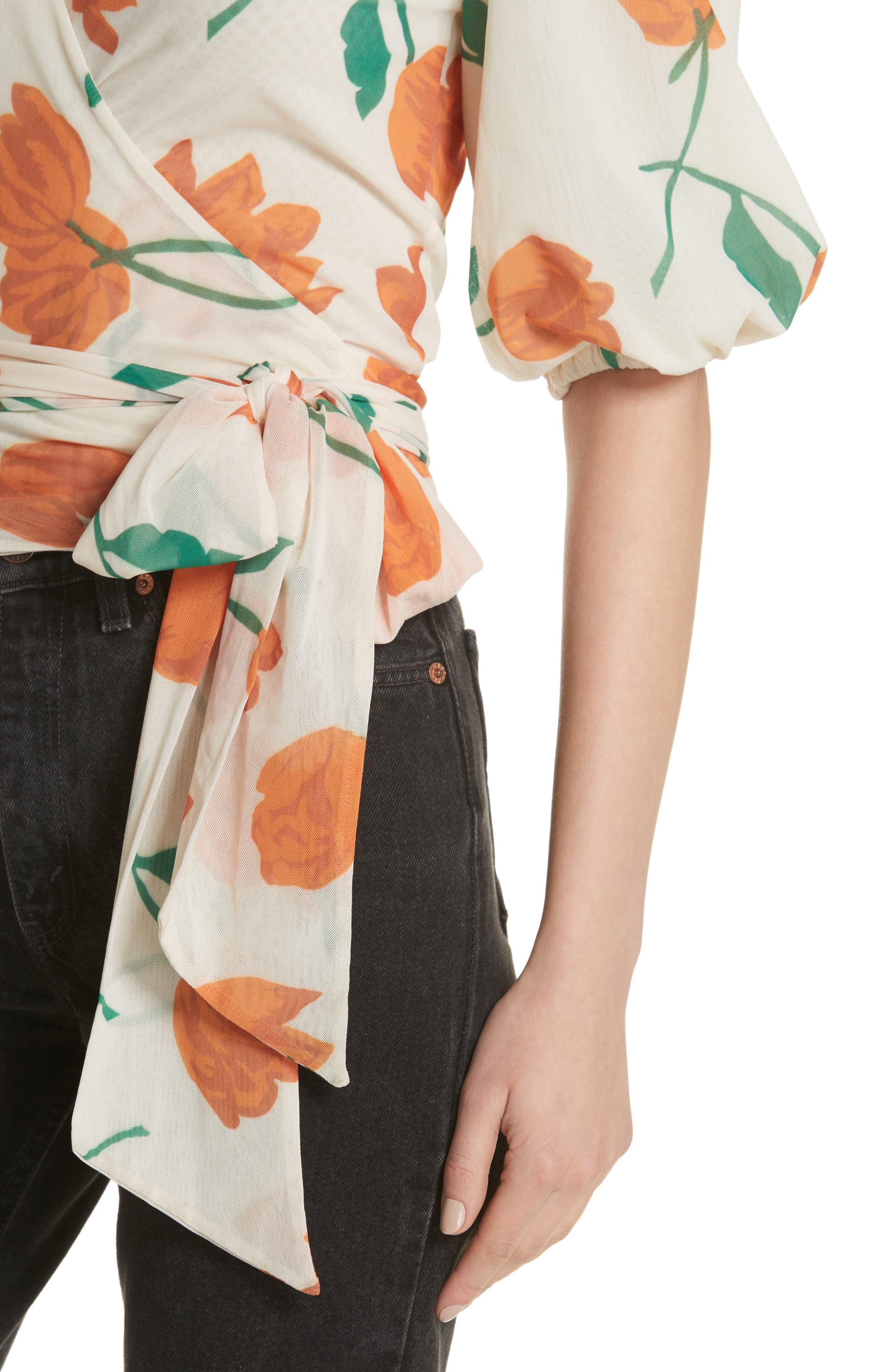 Tilden Floral Print Mesh Wrap Top,                             Alternate thumbnail 4, color,                             900