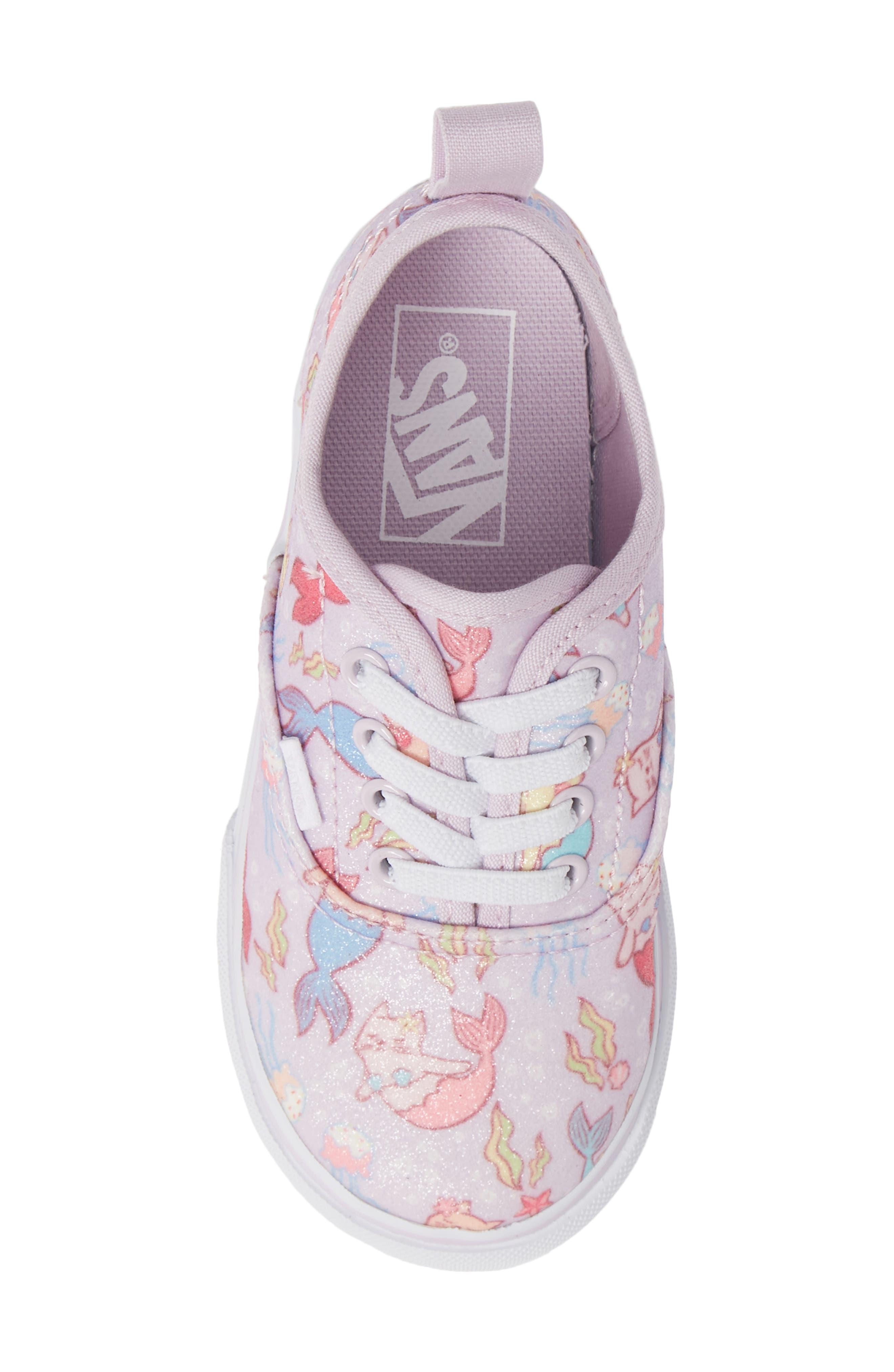 Authentic Elastic Lace Sneaker,                             Alternate thumbnail 5, color,                             LAVENDER FOG/ TRUE WHITE