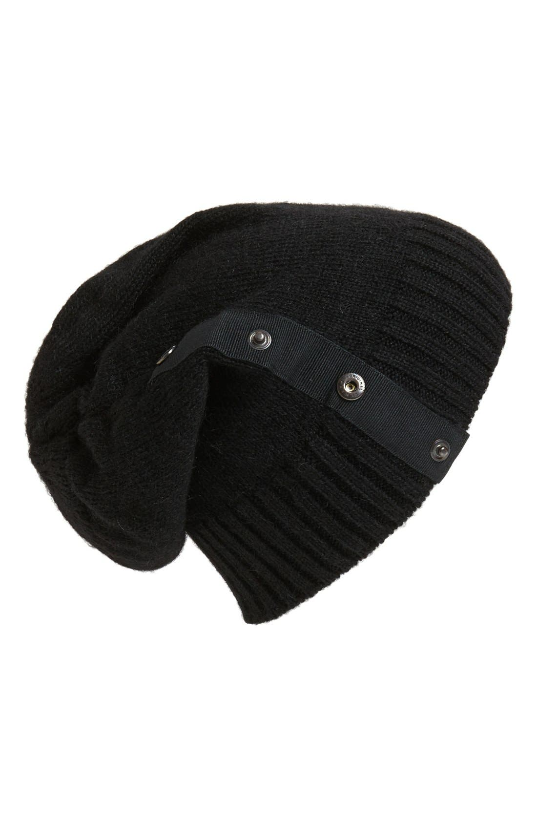 TARNISH Snap Detail Slouchy Knit Beanie, Main, color, 001