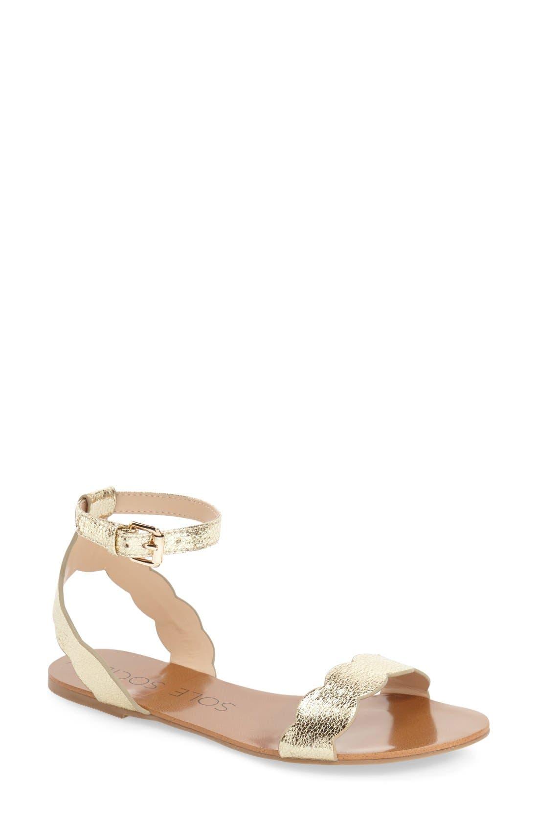 'Odette' Scalloped Ankle Strap Flat Sandal,                             Main thumbnail 7, color,
