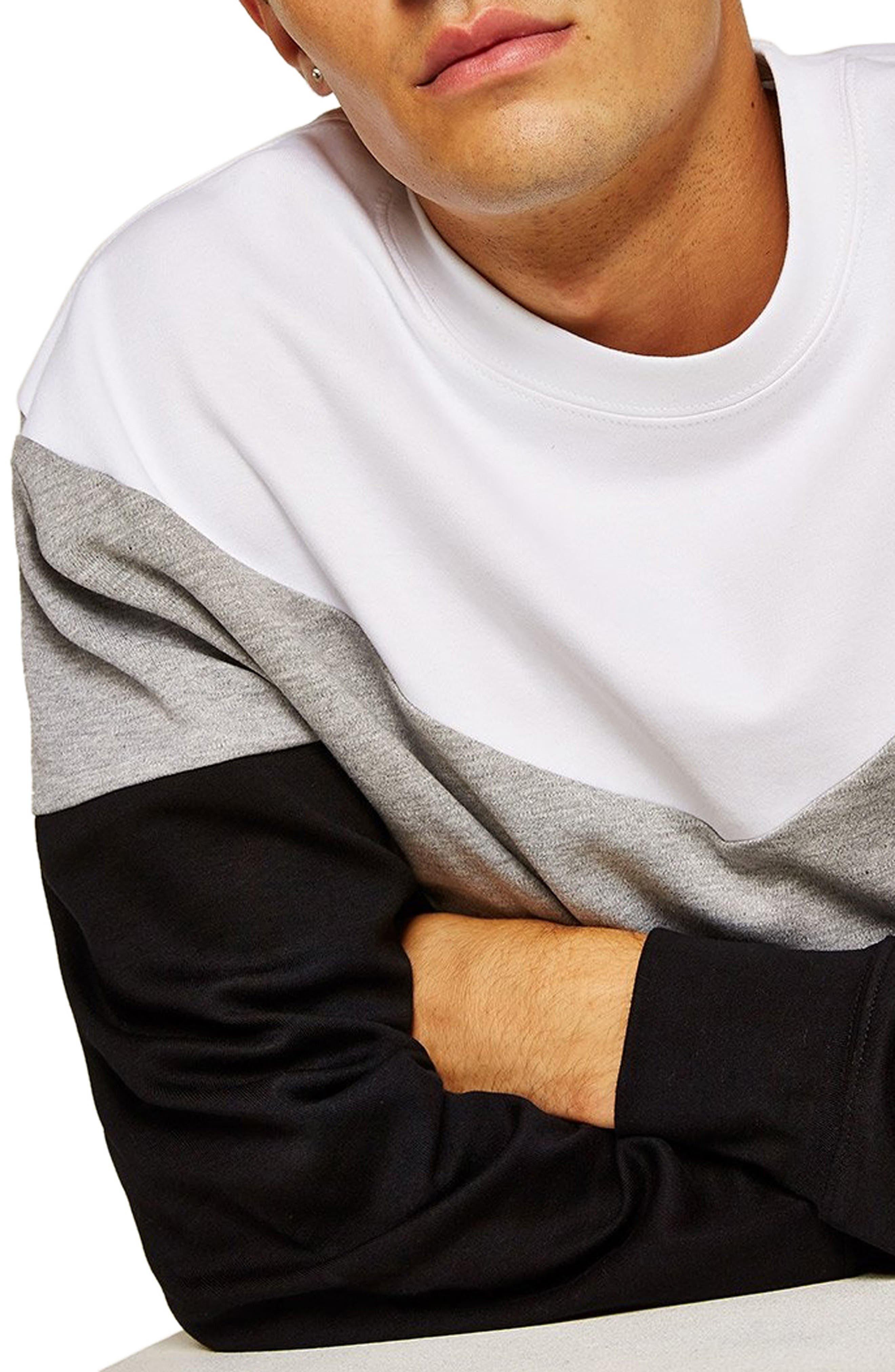 Chevron Colorblock Sweatshirt,                             Alternate thumbnail 3, color,                             BLACK MULTI