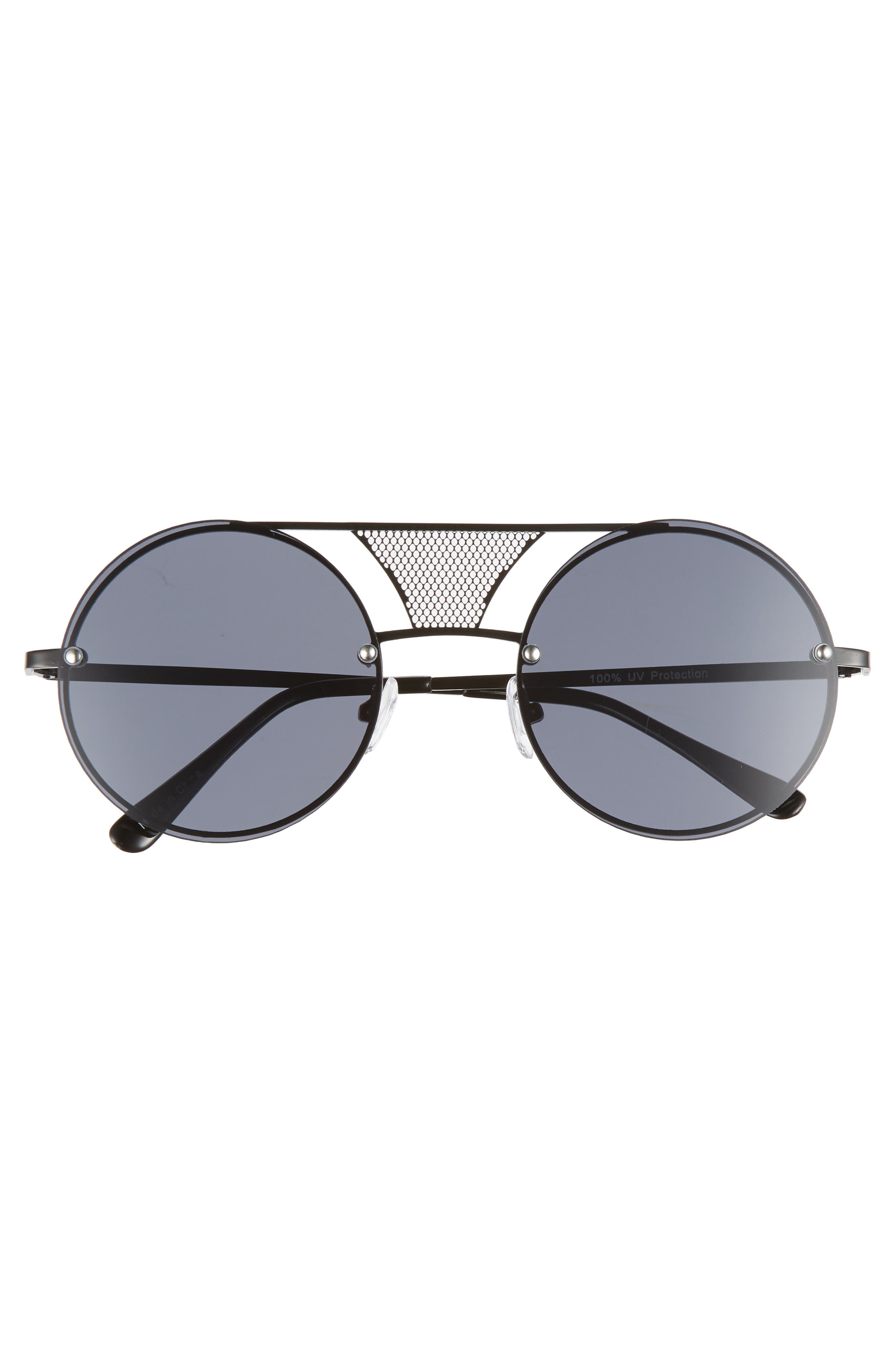 52mm Mesh Browbar Round Aviator Sunglasses,                             Alternate thumbnail 3, color,                             BLACK